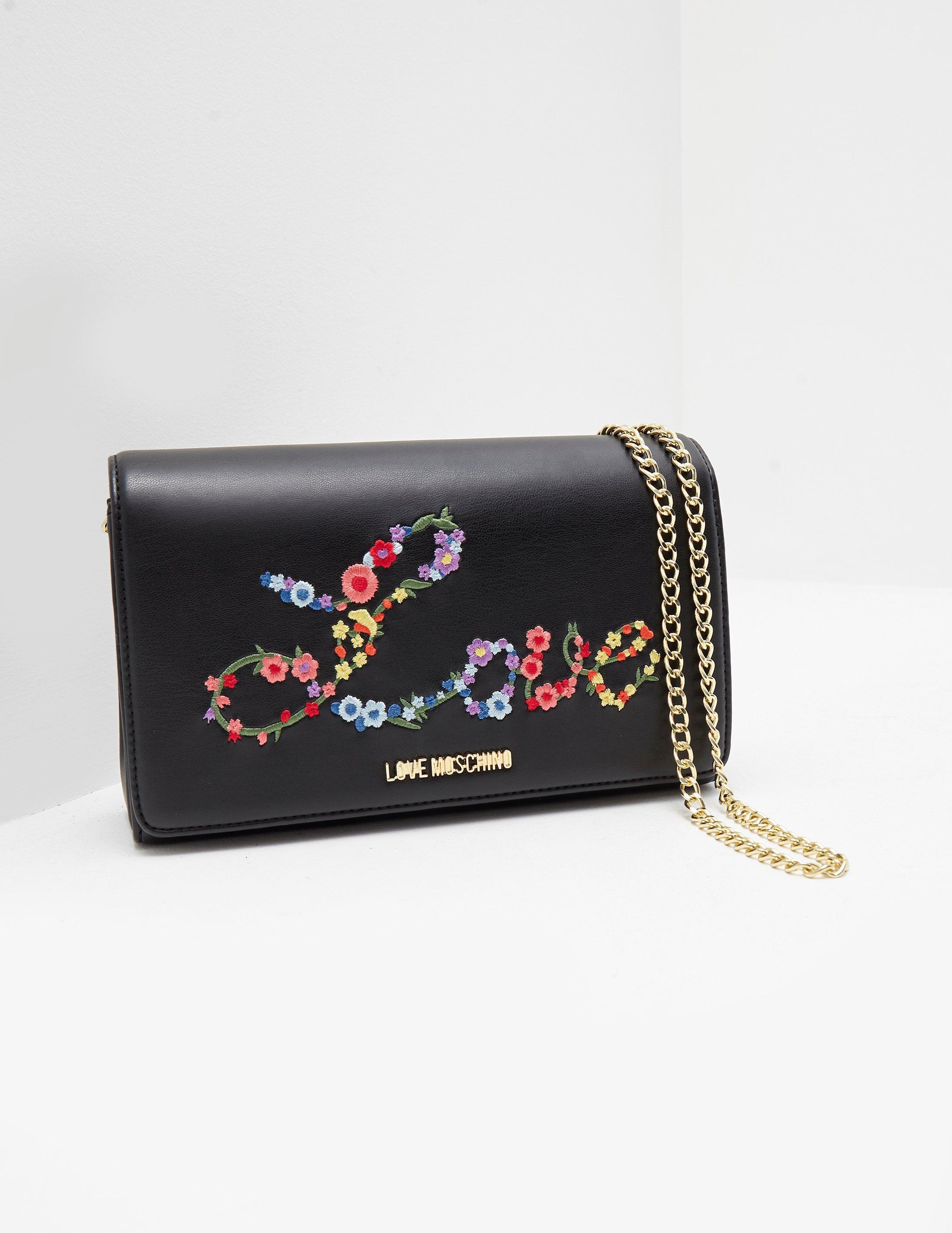 8091bbec1fe Love Moschino - Floral Love Shoulder Bag Black - Lyst. View fullscreen