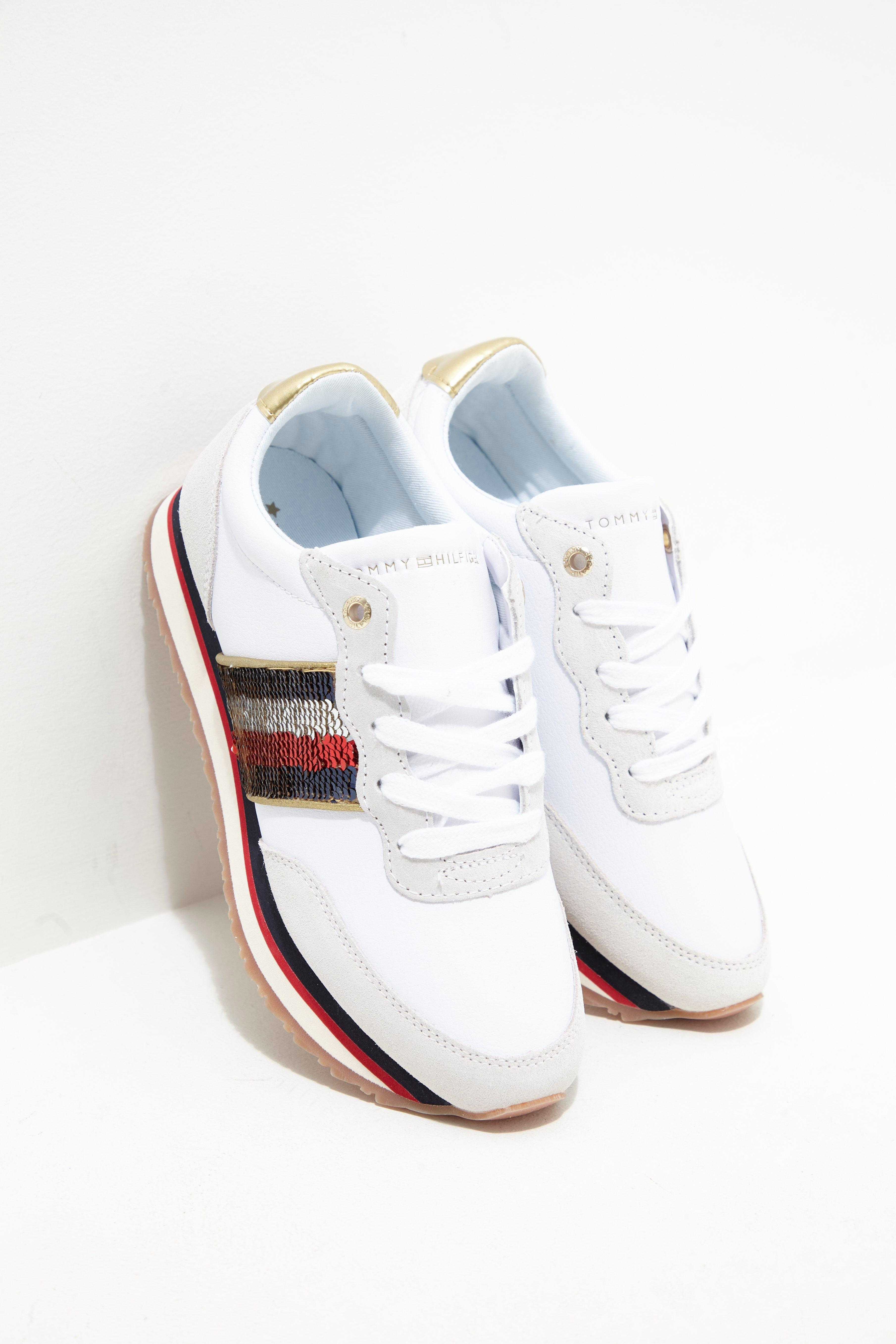 64c322676 Tommy Hilfiger Womens Sequin Retro Trainers White in White - Lyst