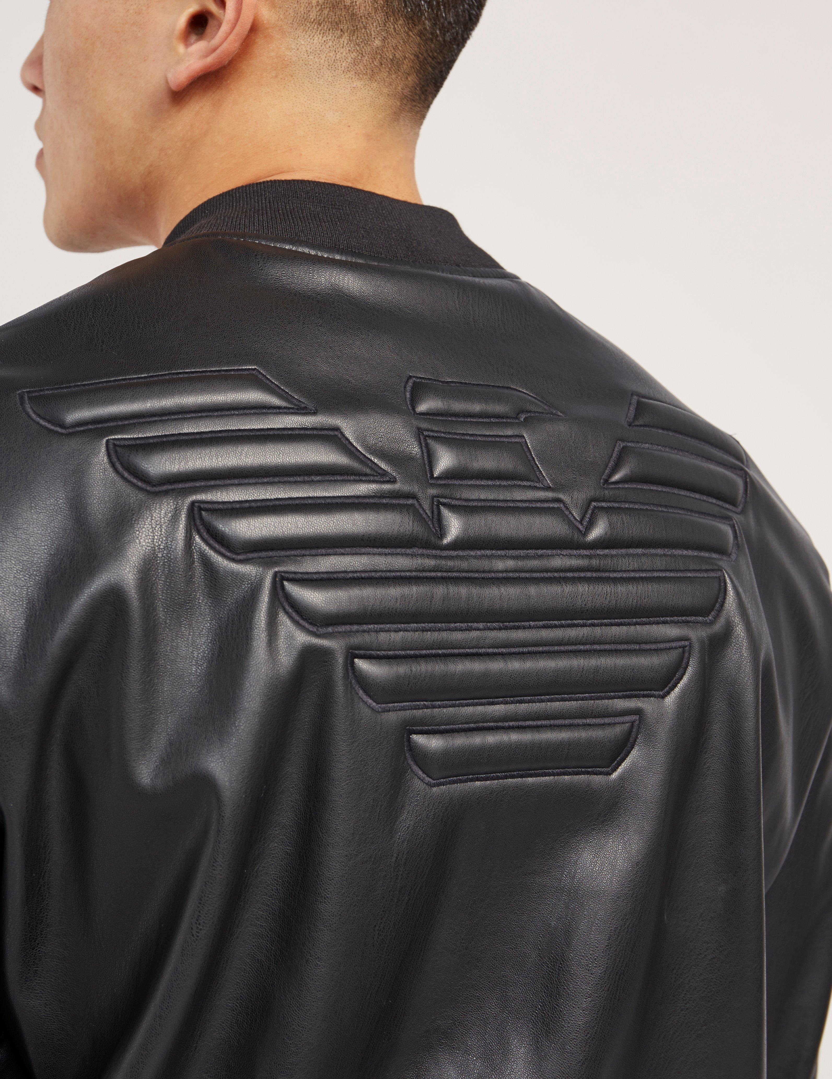 f5b0209f armani jeans faux leather bomber jacket black