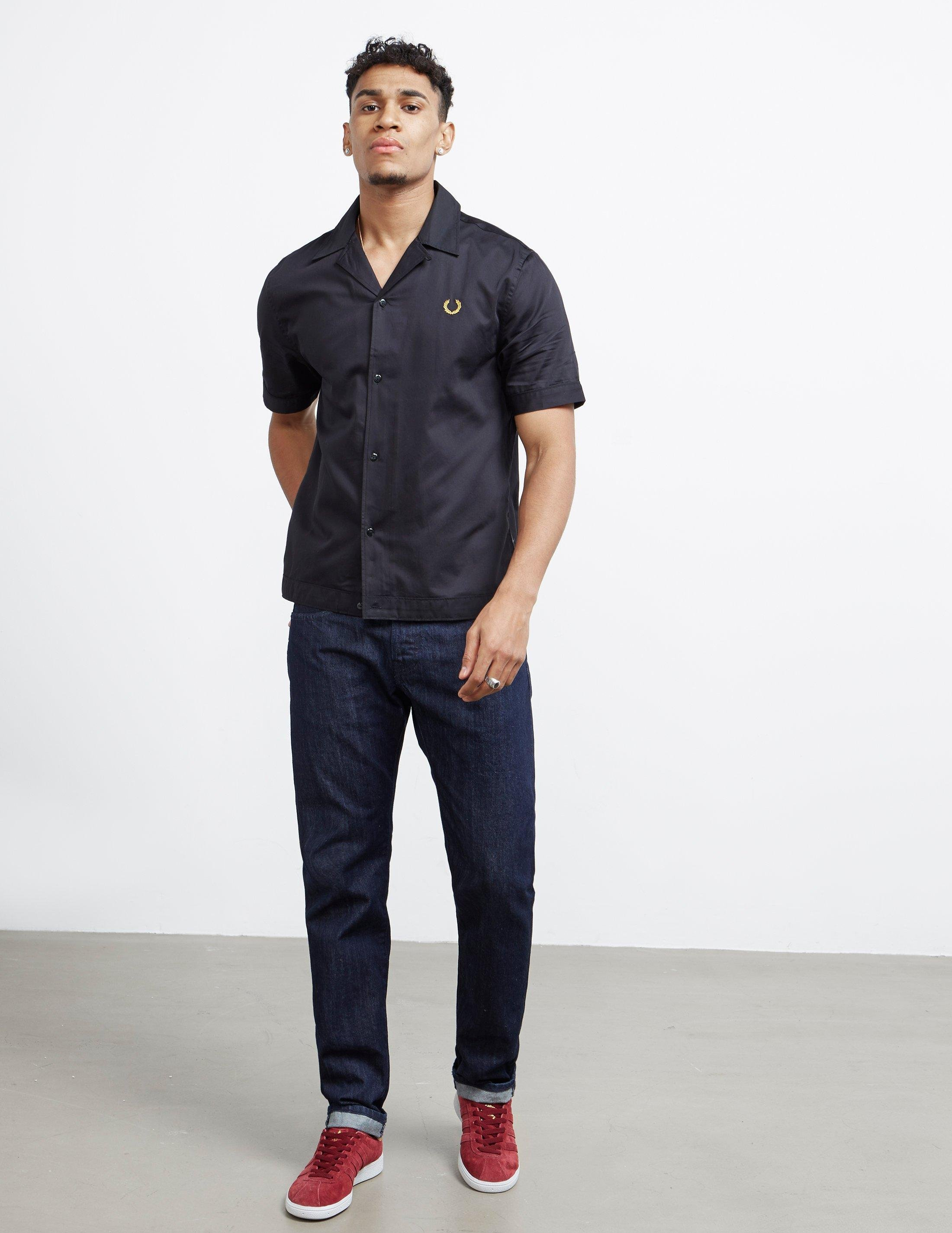 7ef89eebc Fred Perry X Miles Kane Short Sleeve Bowling Shirt Black in Black for Men -  Lyst