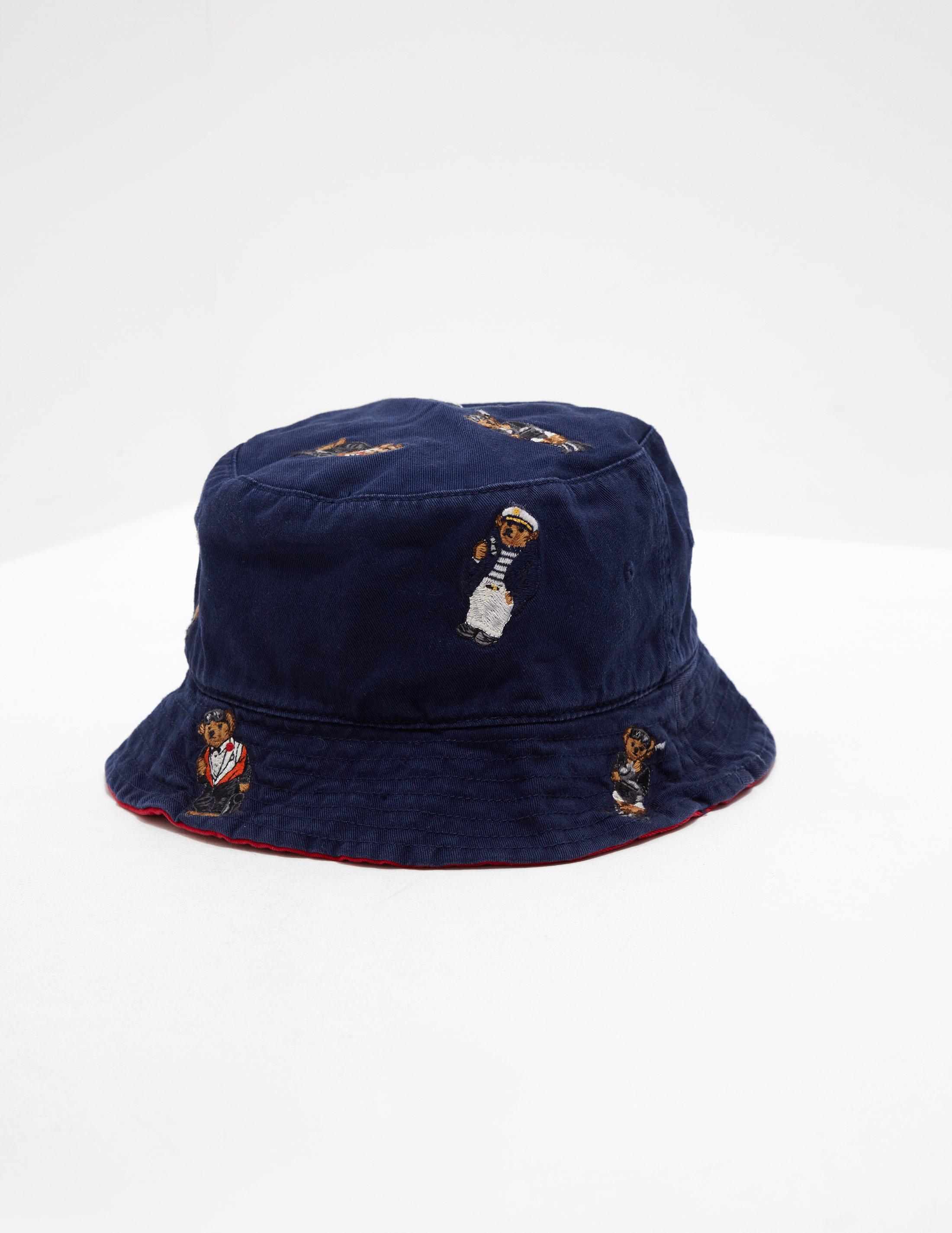 Polo Ralph Lauren Mens Bear Bucket Hat - Online Exclusive Navy Blue ... df13cef1060