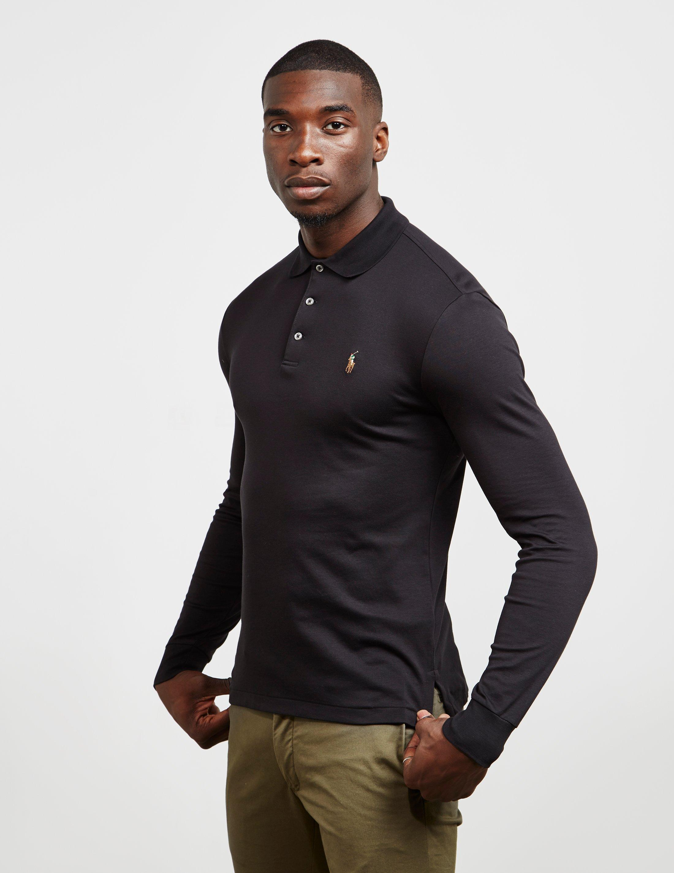 36f7a031 Polo Ralph Lauren Stretch Long Sleeve Polo Shirt Black in Black for ...