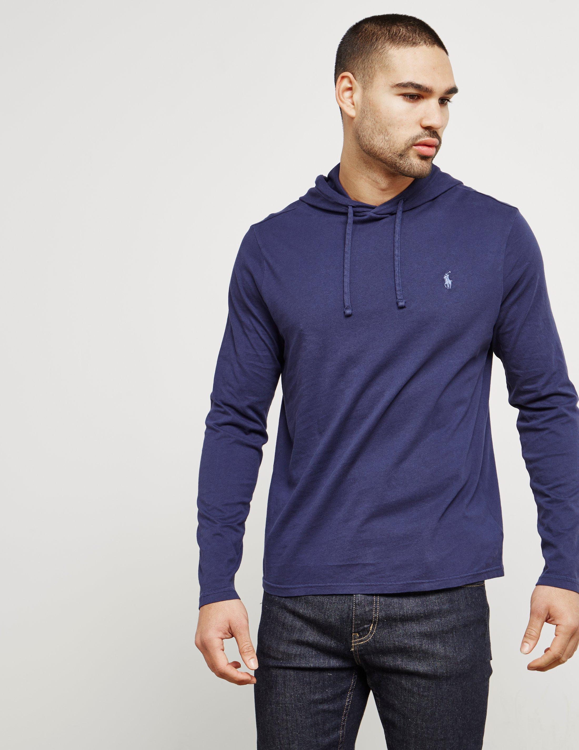 2b0554c58 Polo Ralph Lauren Mens Hooded Long Sleeve T-shirt Navy Blue in Blue ...