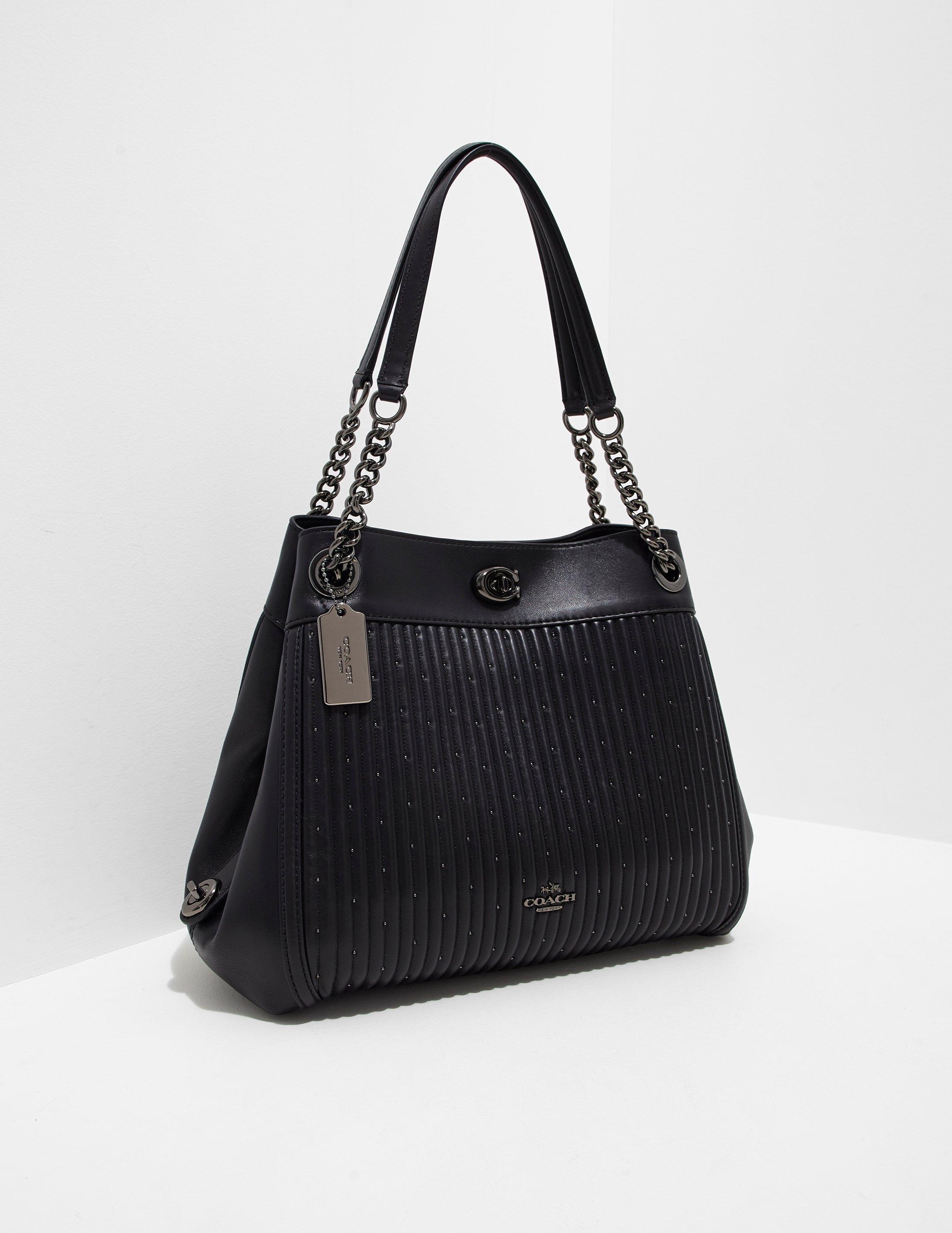 ... closeout coach womens turnlock edie chain bag black in black lyst 3dac3  9502f 9f9f7ee4276fb
