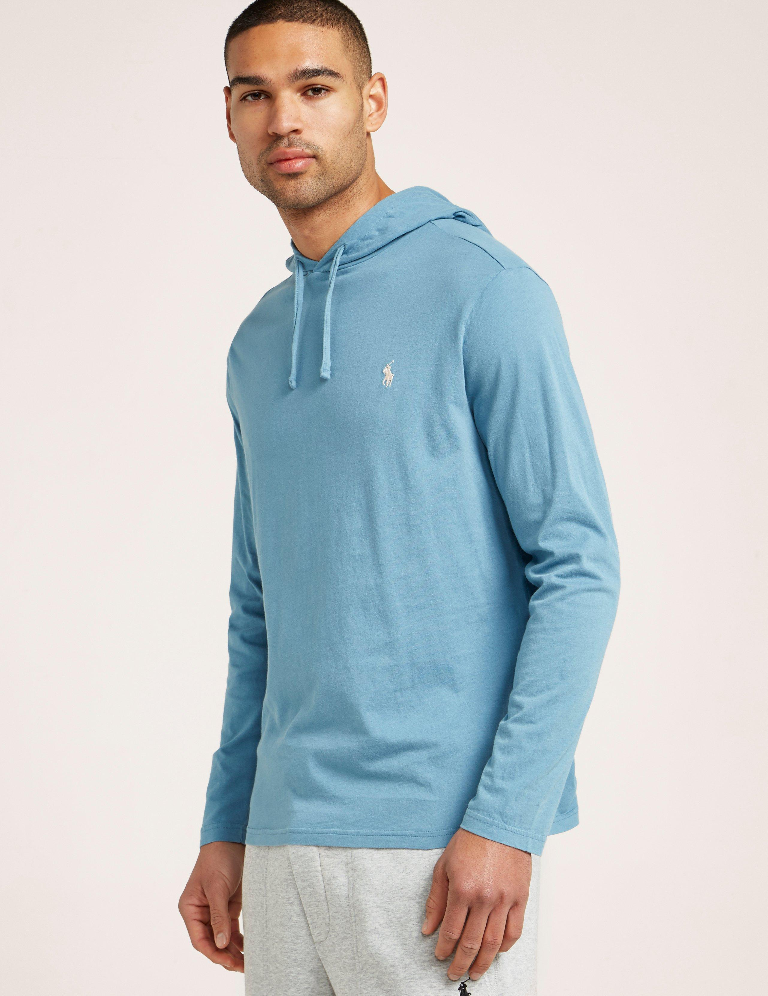f037448c14271a Lyst - Polo Ralph Lauren Long Sleeve Hooded T-shirt in Blue for Men