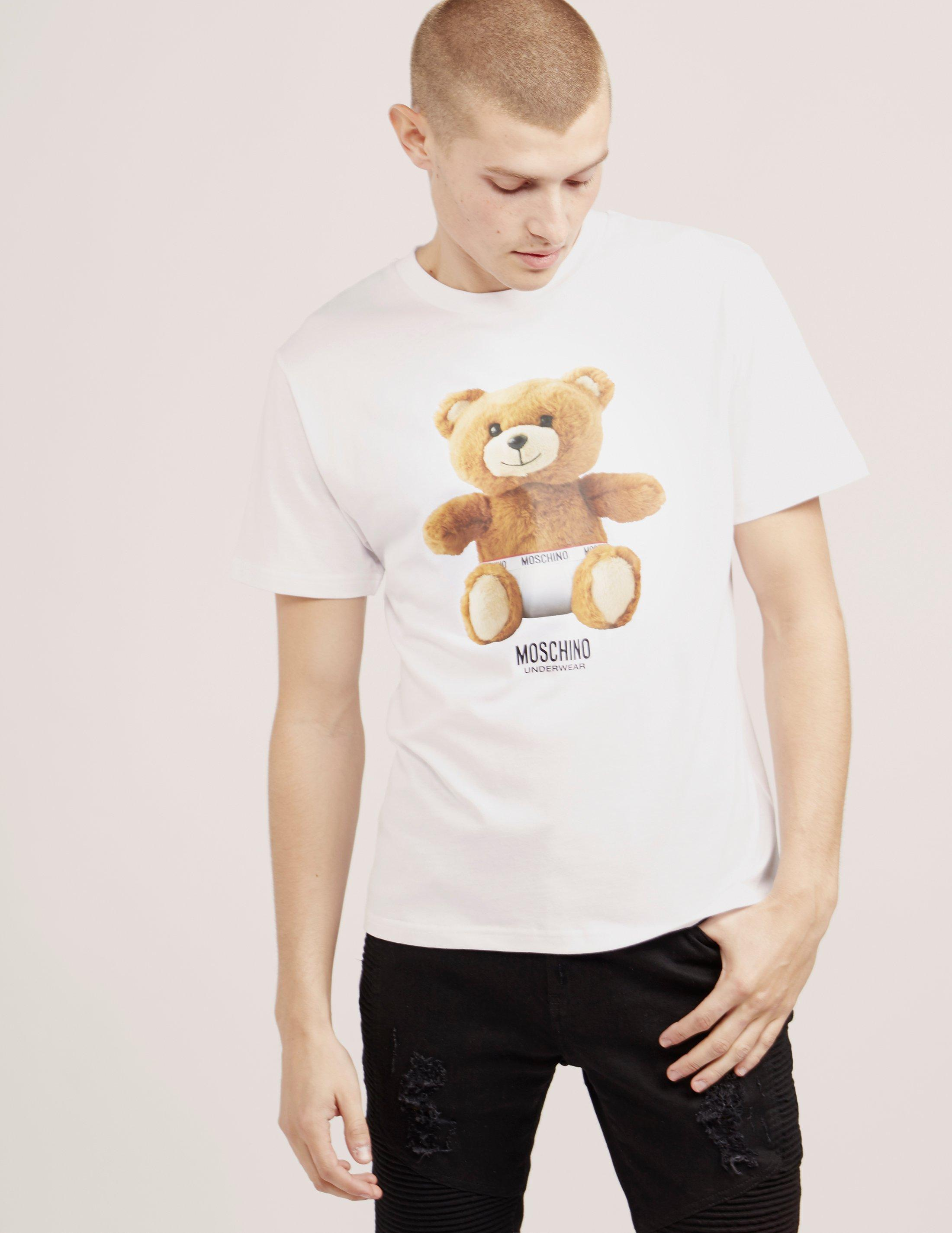 7edcd4e4 Moschino Mens Bear Short Sleeve T-shirt White, White in White for ...