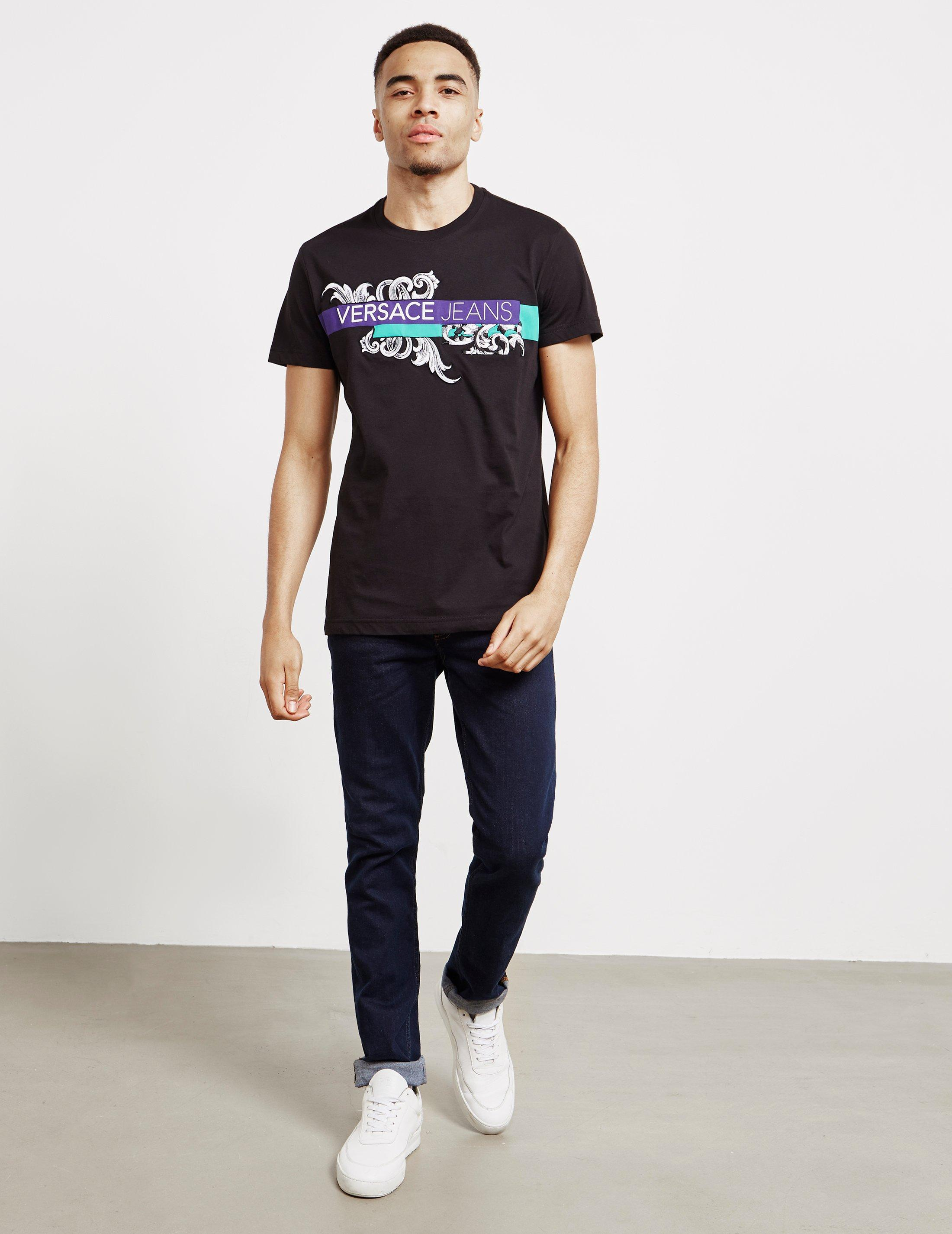 5899b53e Lyst - Versace Jeans Mens Baroque Logo Short Sleeve T-shirt Black in Black  for Men