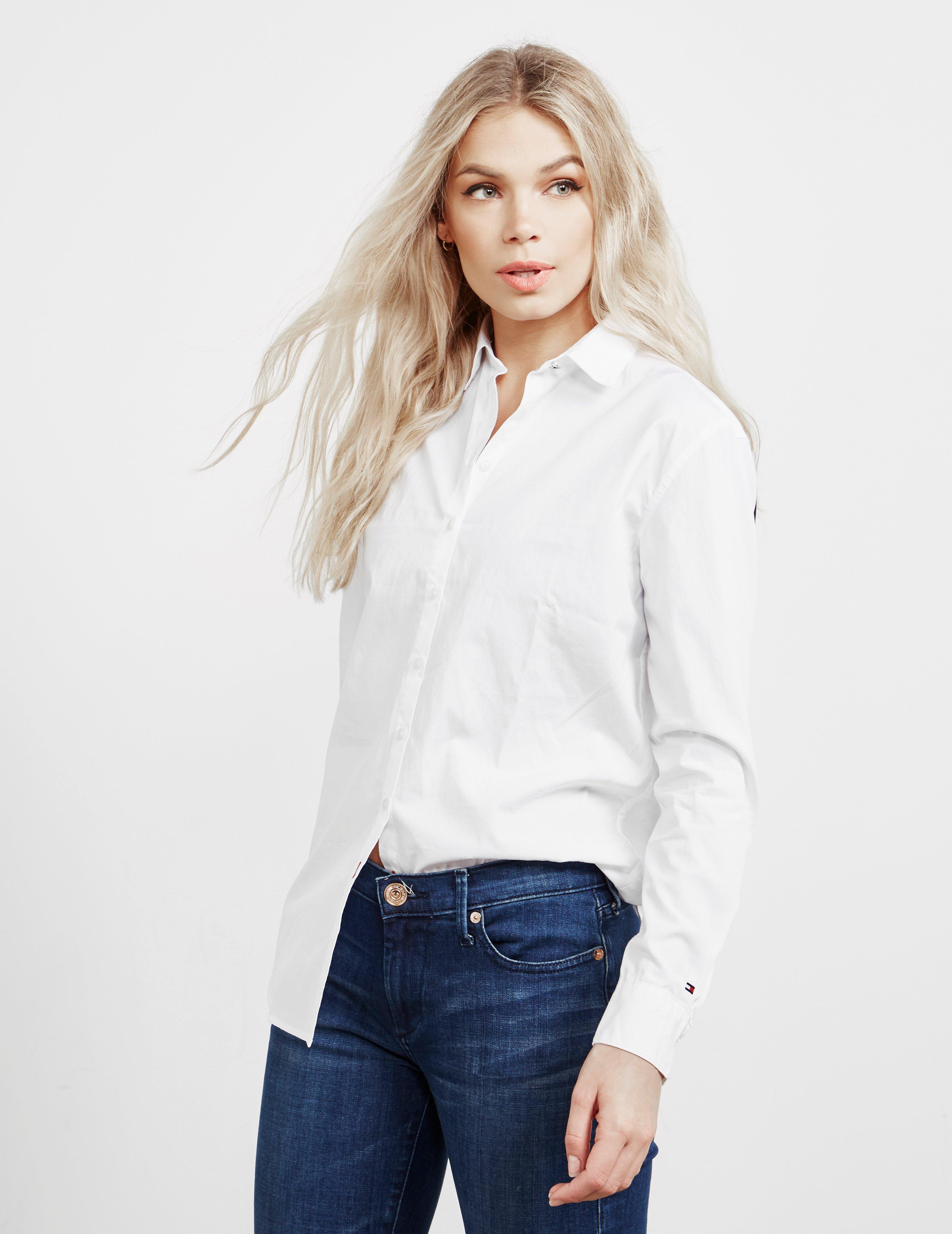52a474d8 Tommy Hilfiger Icon Girlfriend Long Sleeve Shirt White in White - Lyst