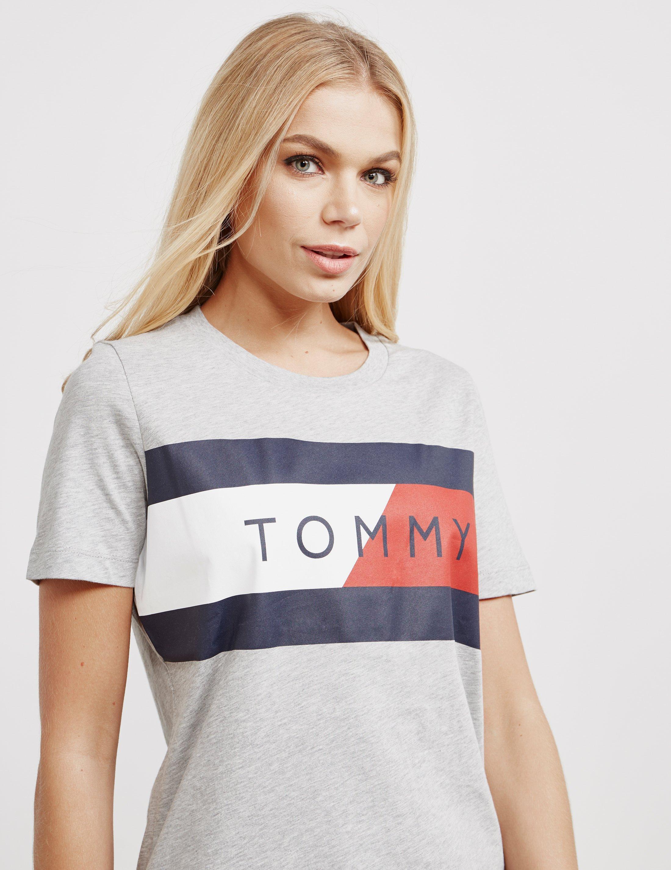 588434c1d Tommy Hilfiger Womens Athletic Logo Flag Short Sleeve T-shirt Grey ...