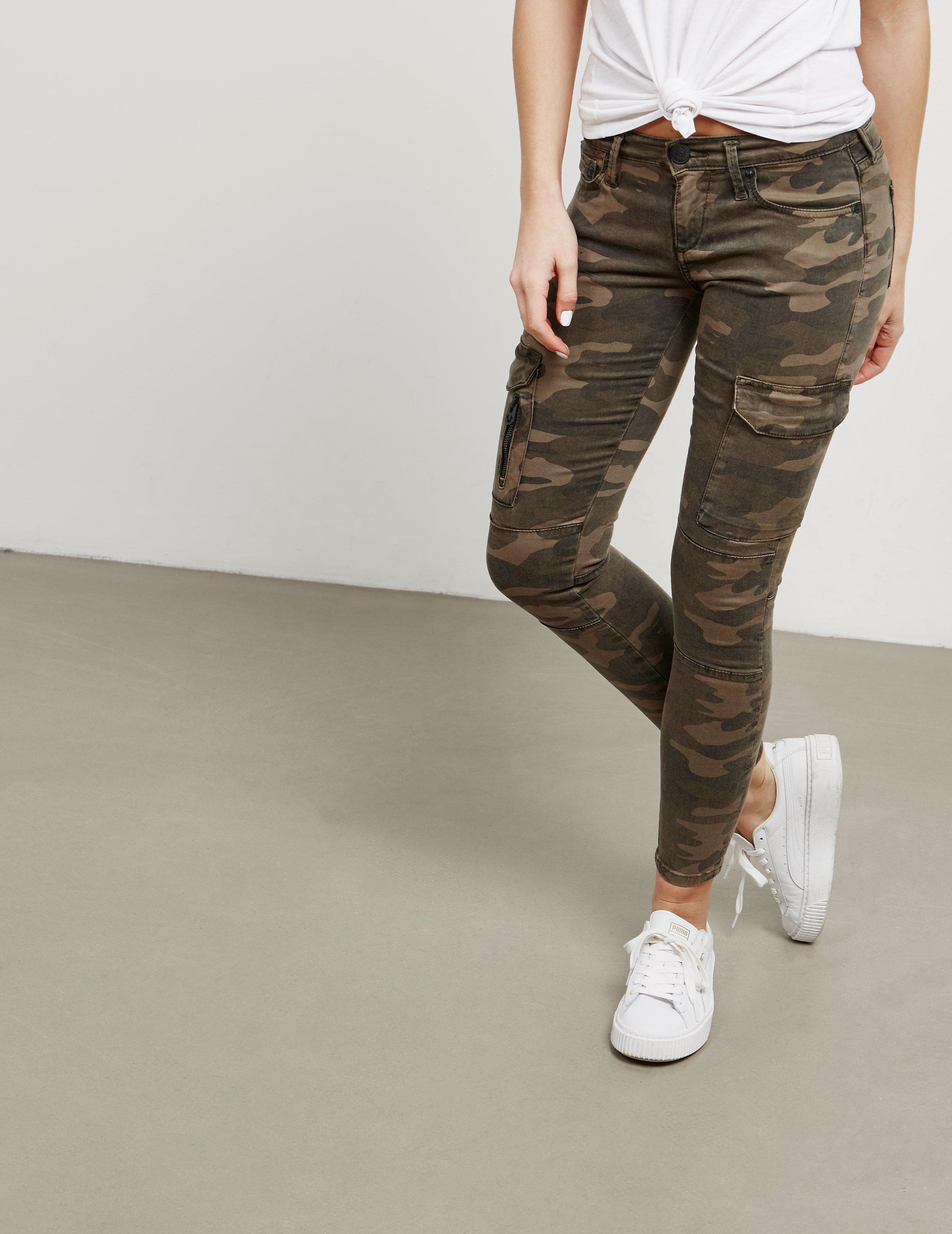 e21fe5489c2a True Religion Womens Halle Skinny Camo Cargo Jeans Camo/camo in ...