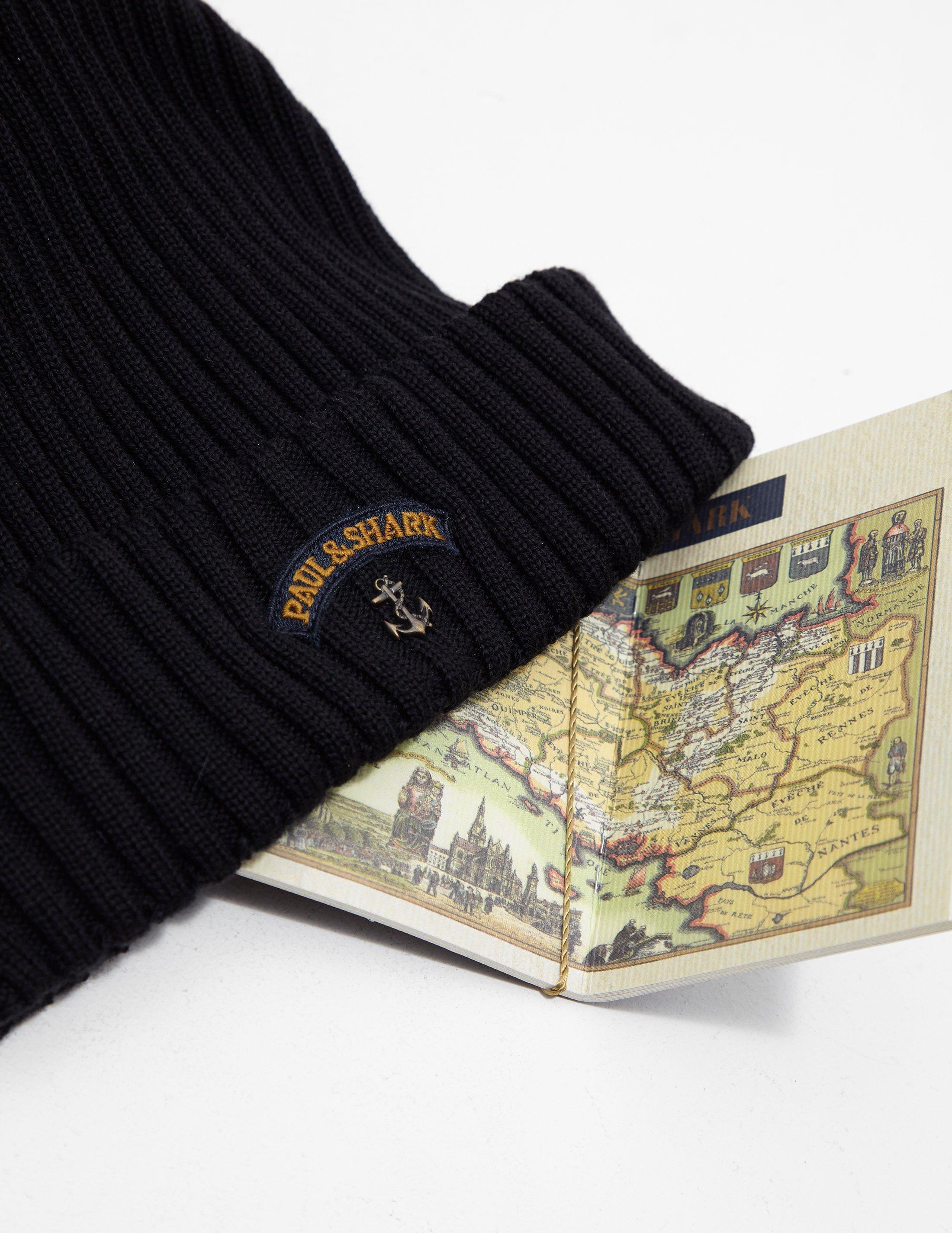 Paul   Shark Ribbed Knitted Logo Beanie Black in Black for Men - Lyst f6597fd80fd2