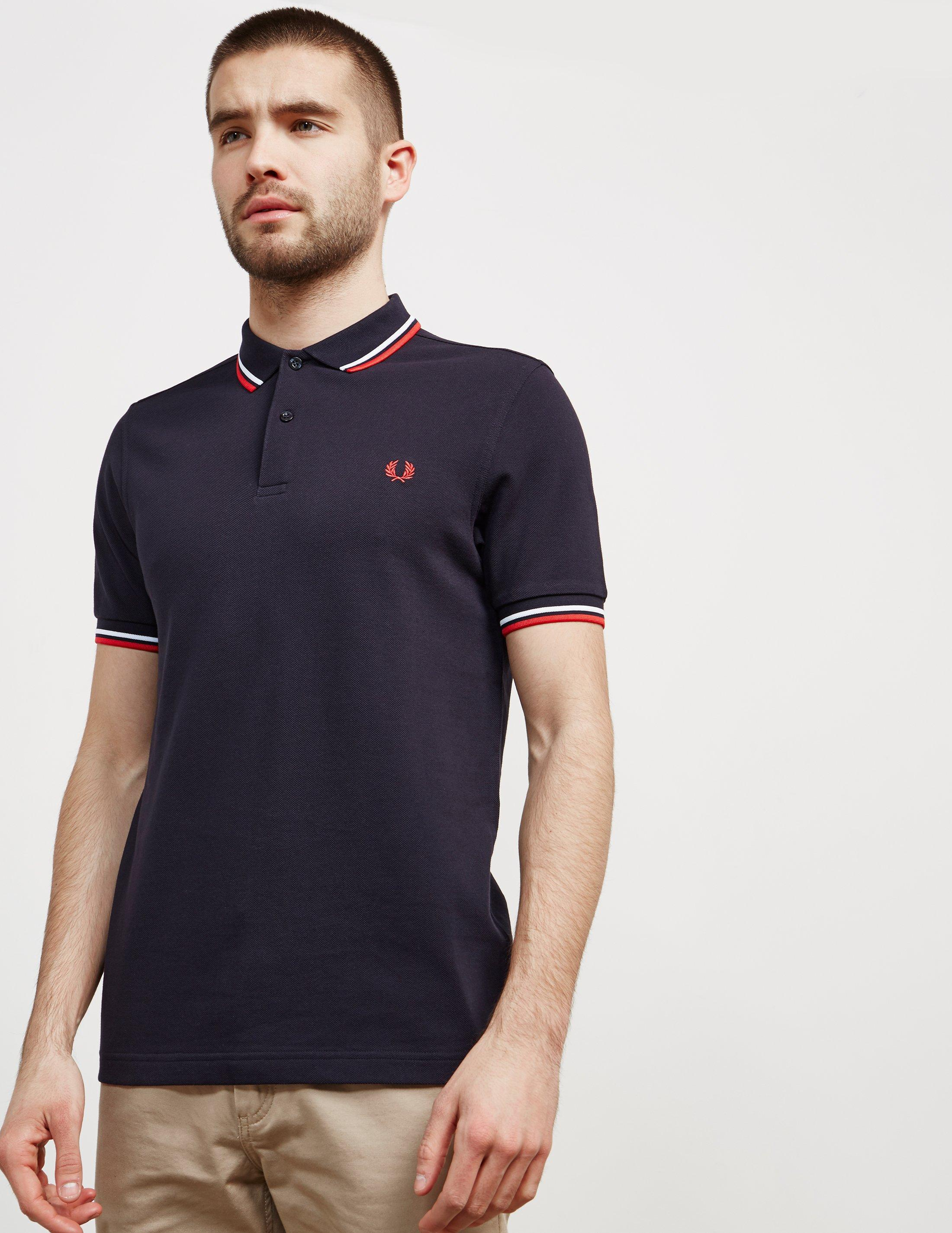 9ad25182d5b2 Fred Perry Twin Tipped Short Sleeve Polo Shirt Dark Navy/white/red ...