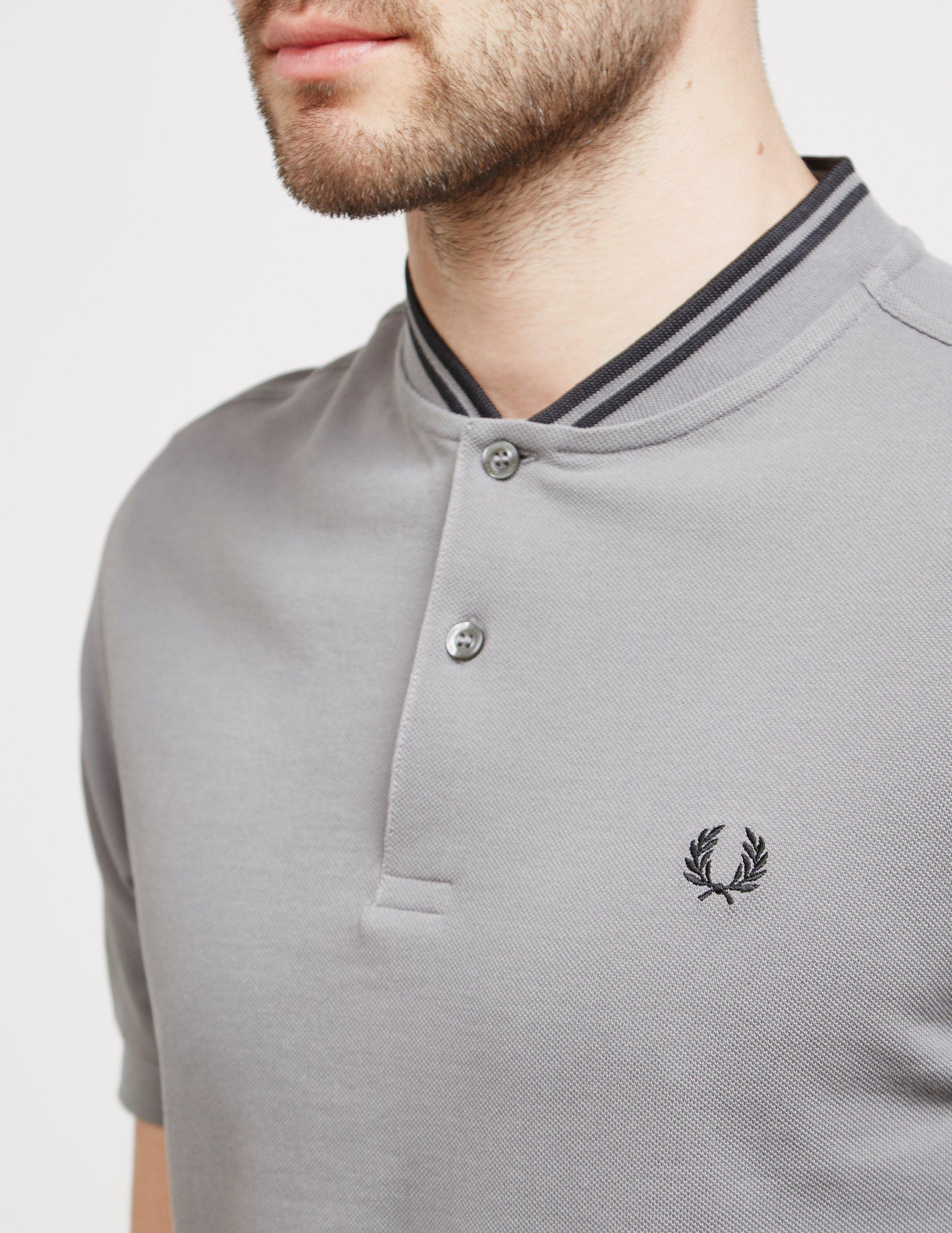 4cd5f8fe Fred Perry Bomber Collar Short Sleeve Polo Shirt Grey in Gray for ...