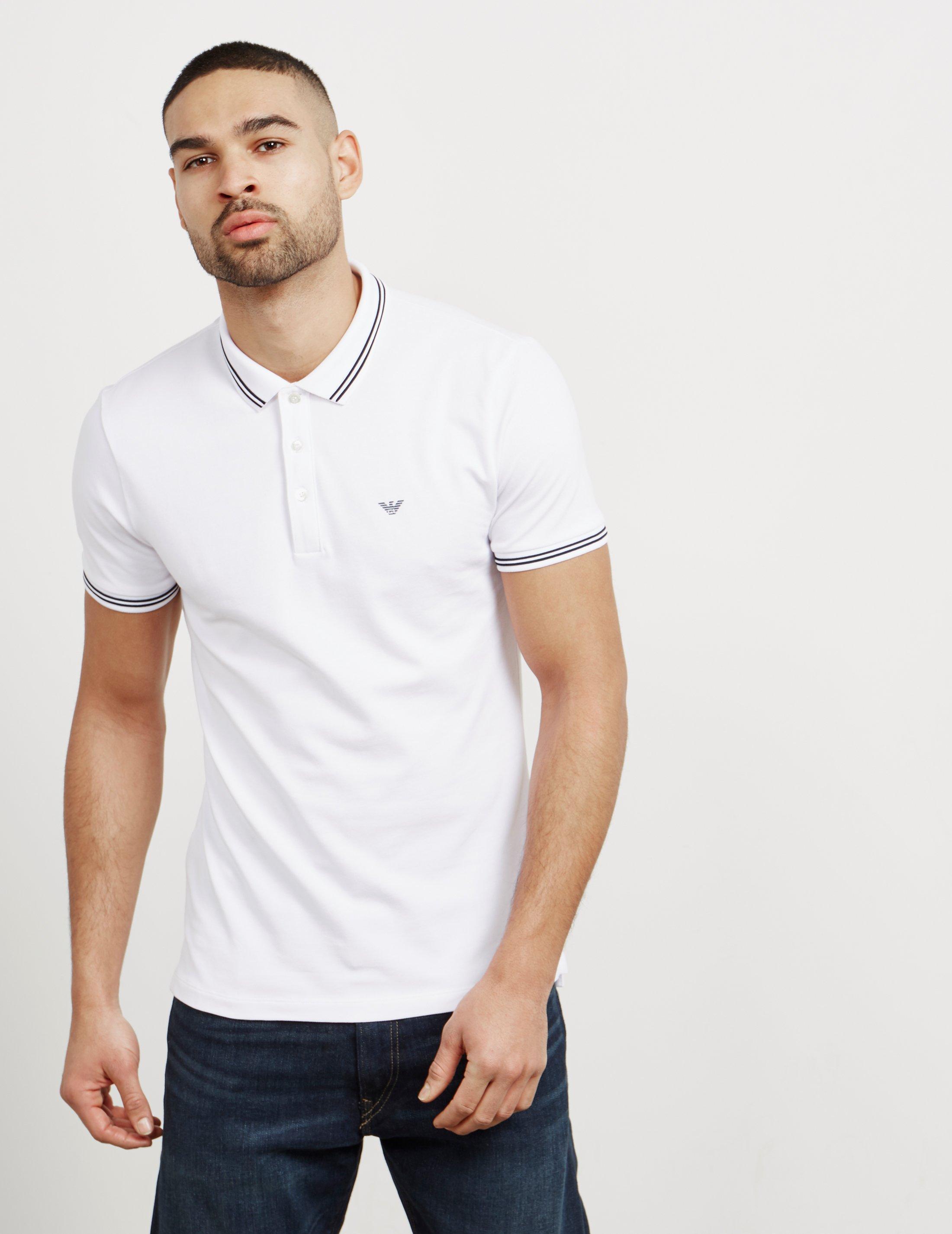 Short Shirt Armani Emporio Sleeve Mens Basic Tipped Polo Lyst wXUWq1gnw