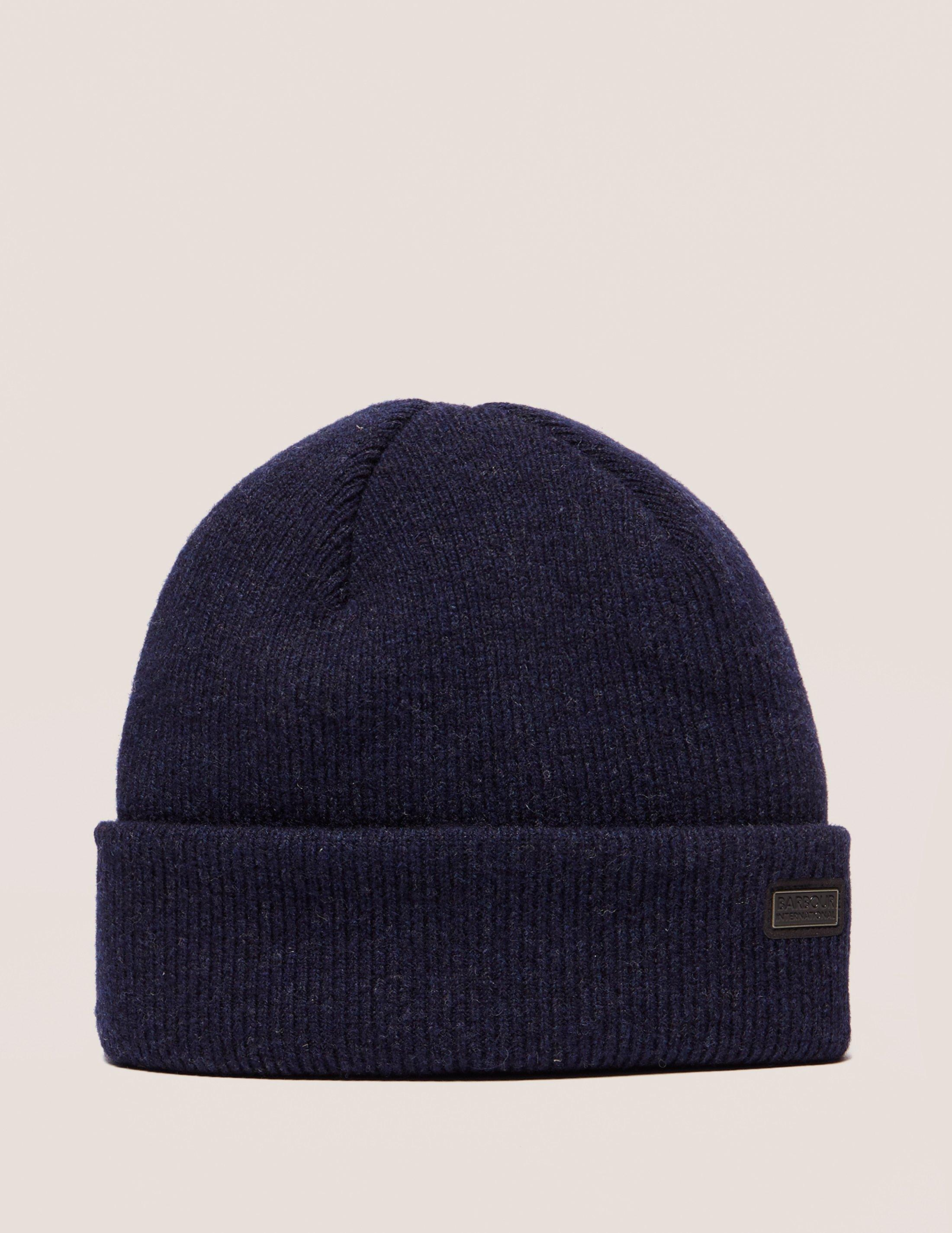 Barbour Mens International Watch Knitted Beanie Navy Blue in Blue ... a4f90aeb2a3a