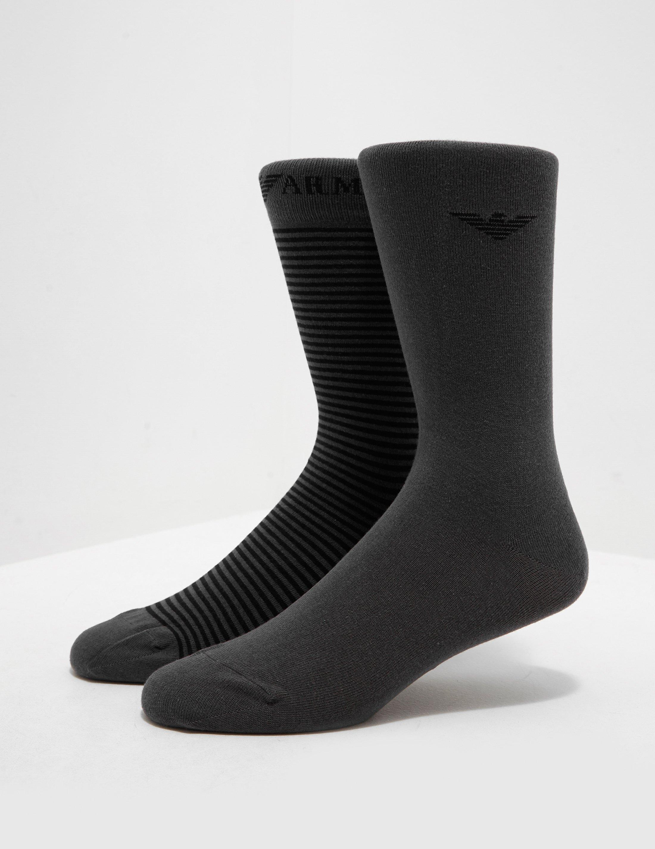 3182ceb6afa Emporio Armani Mens 2-pack Stripe Socks Grey in Gray for Men - Lyst