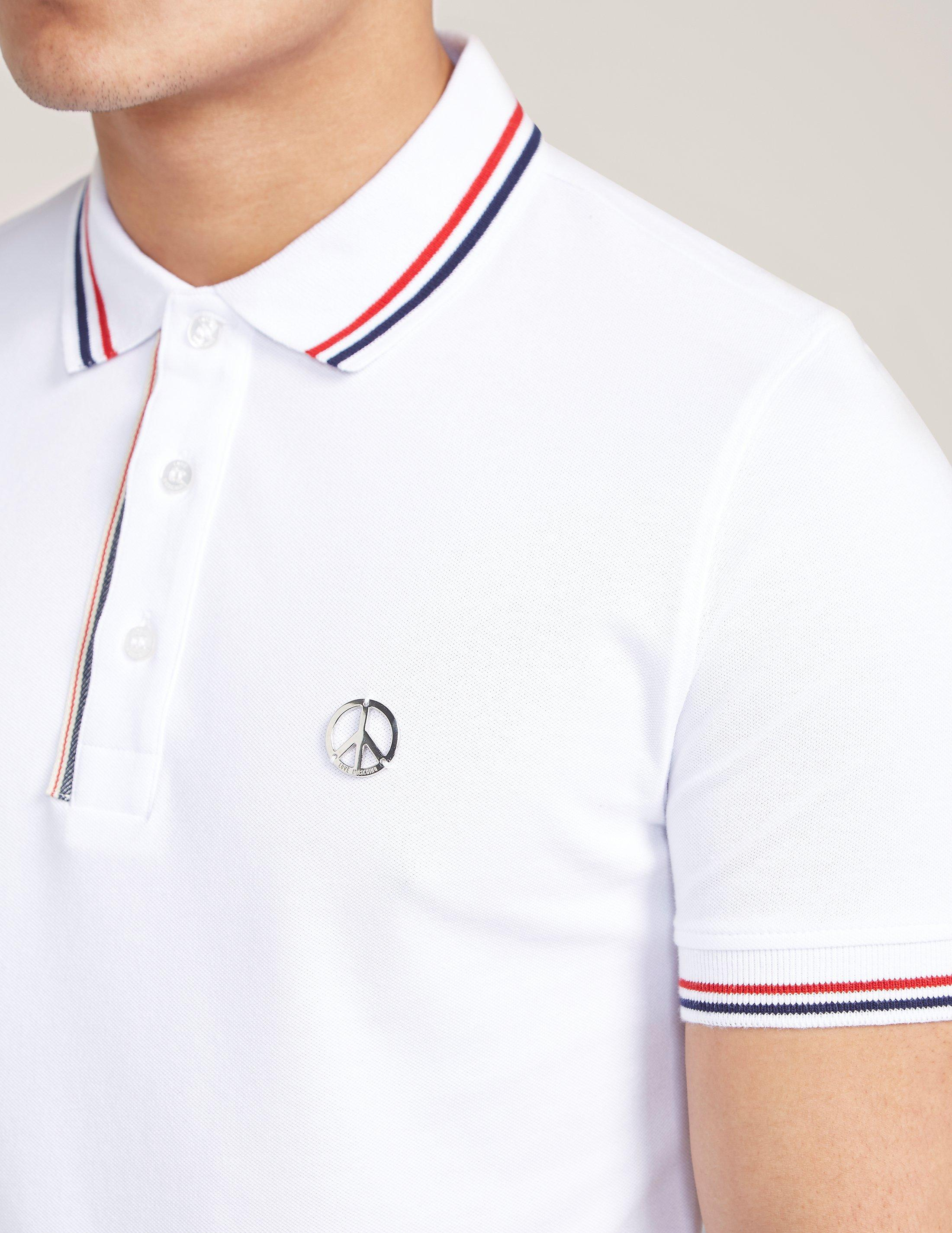 8b2eed964 Love Moschino Peace Polo Shirt in White for Men - Lyst