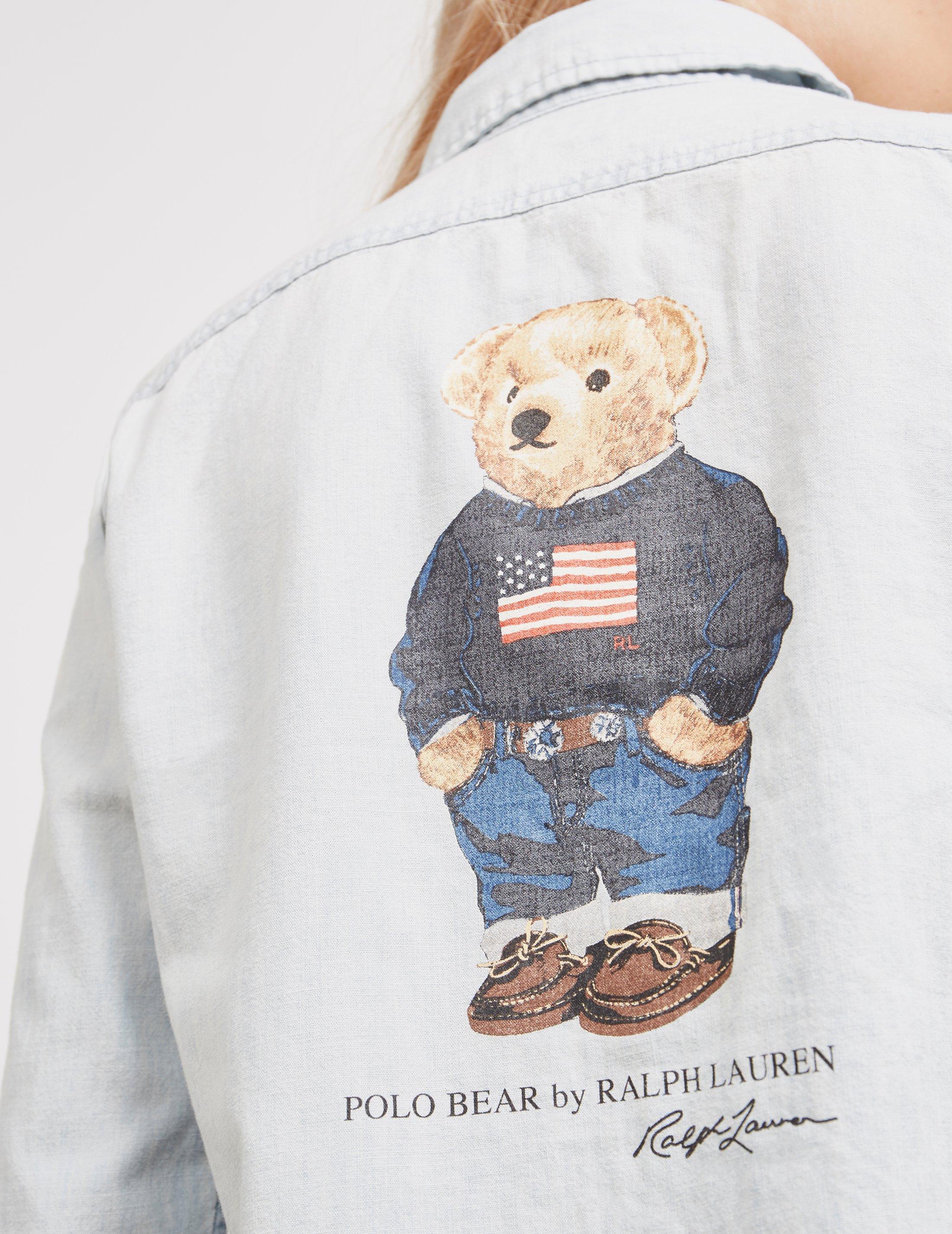 16ba91c8b6 Polo Ralph Lauren Womens Bear Denim Long Sleeve Shirt - Online ...