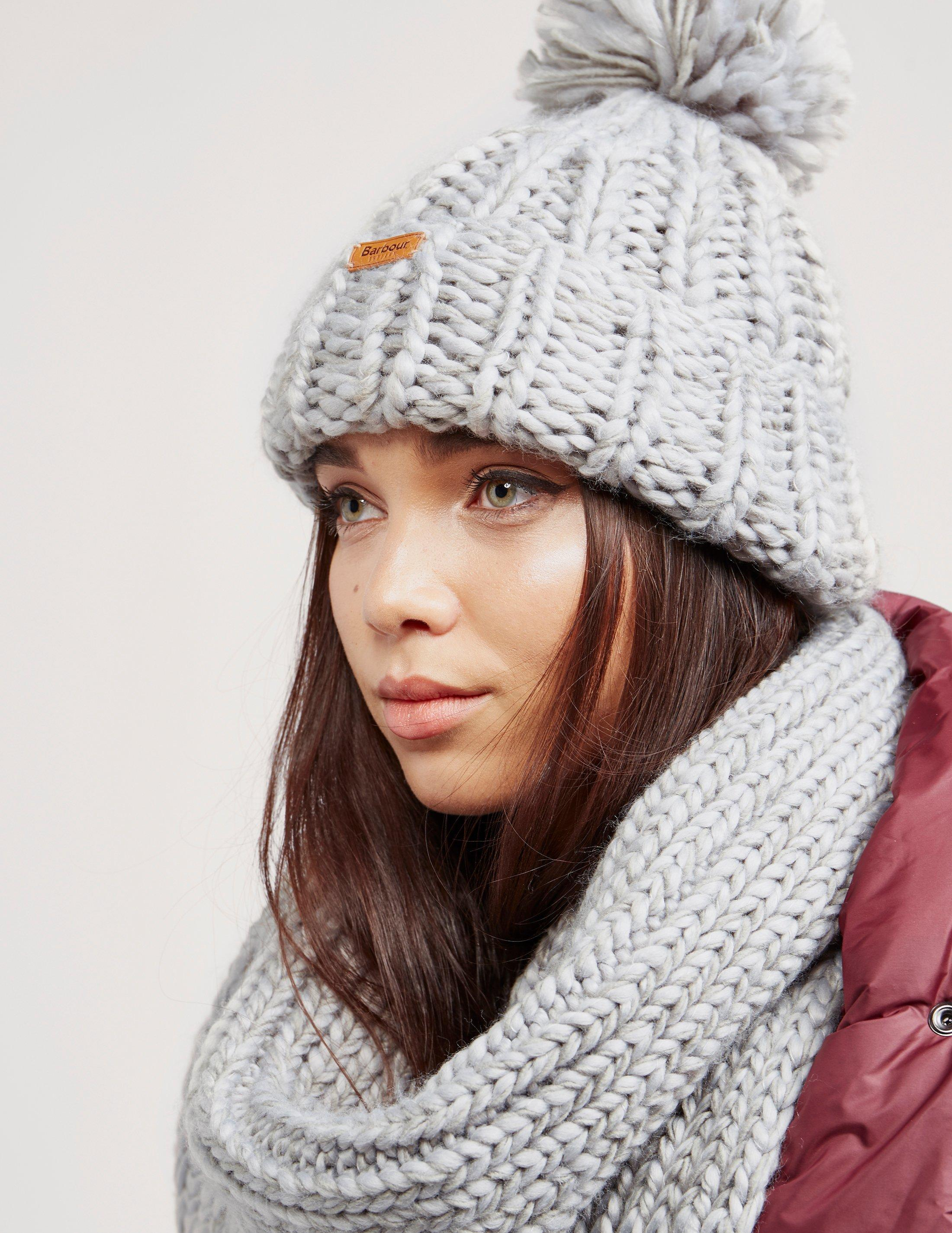 Barbour Womens Chunky Hat And Scarf Set Grey in Gray - Lyst 6b3f50621d8