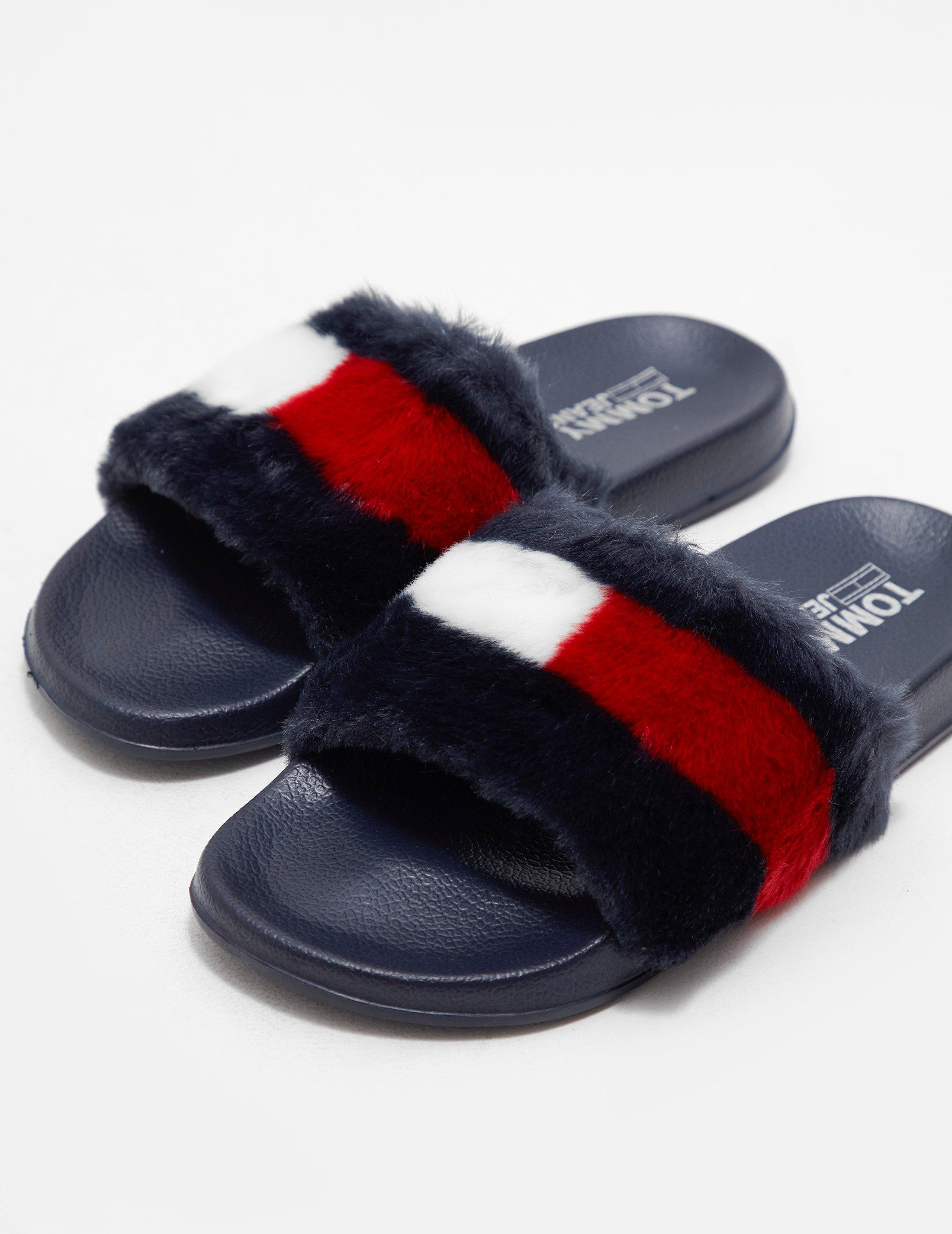 69bd322ec1b328 Lyst - Tommy Hilfiger Funny Fur Pool Slides in Blue