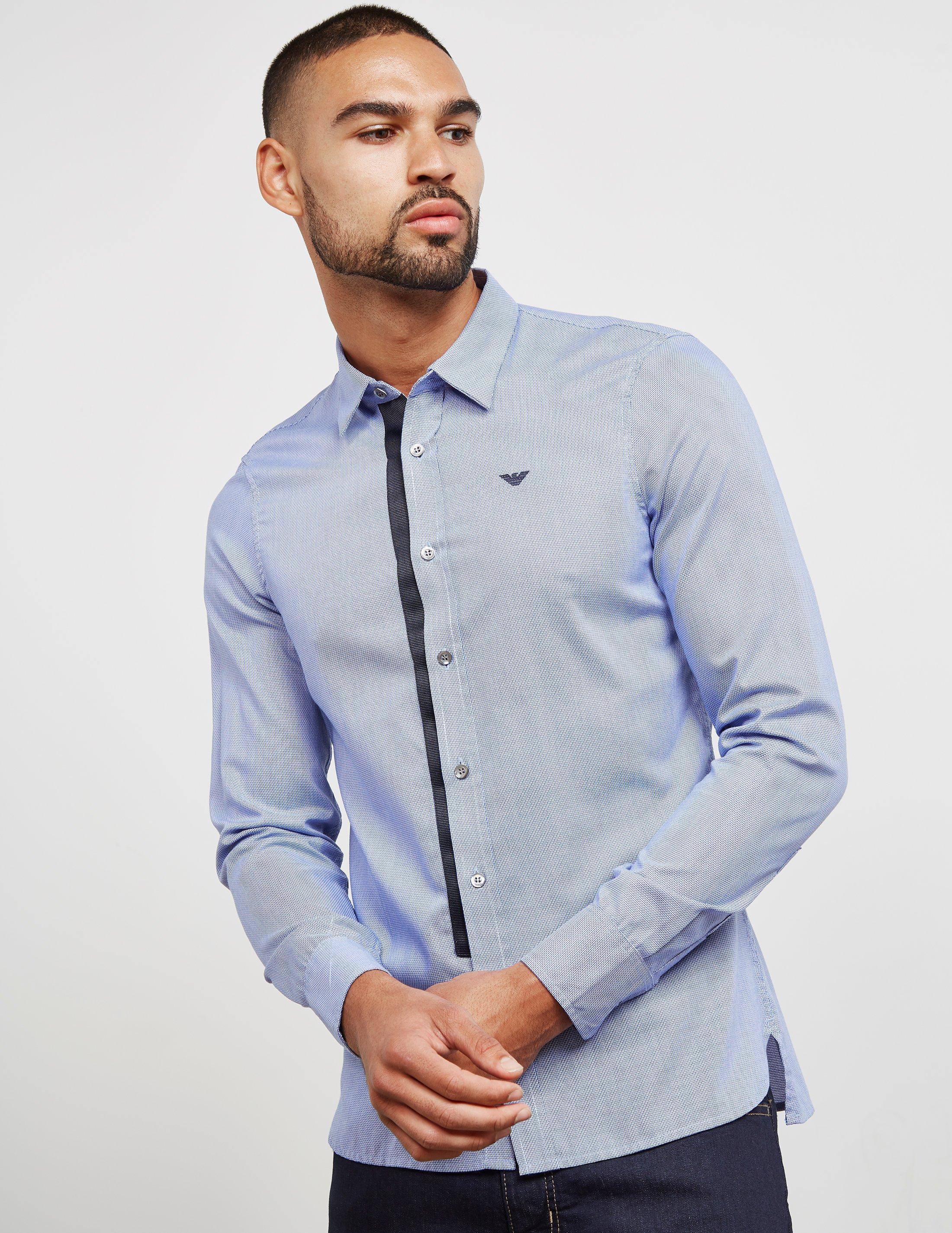 481771d3a Emporio Armani Tipped Placket Long Sleeve Shirt Blue in Blue for Men - Save  51% - Lyst