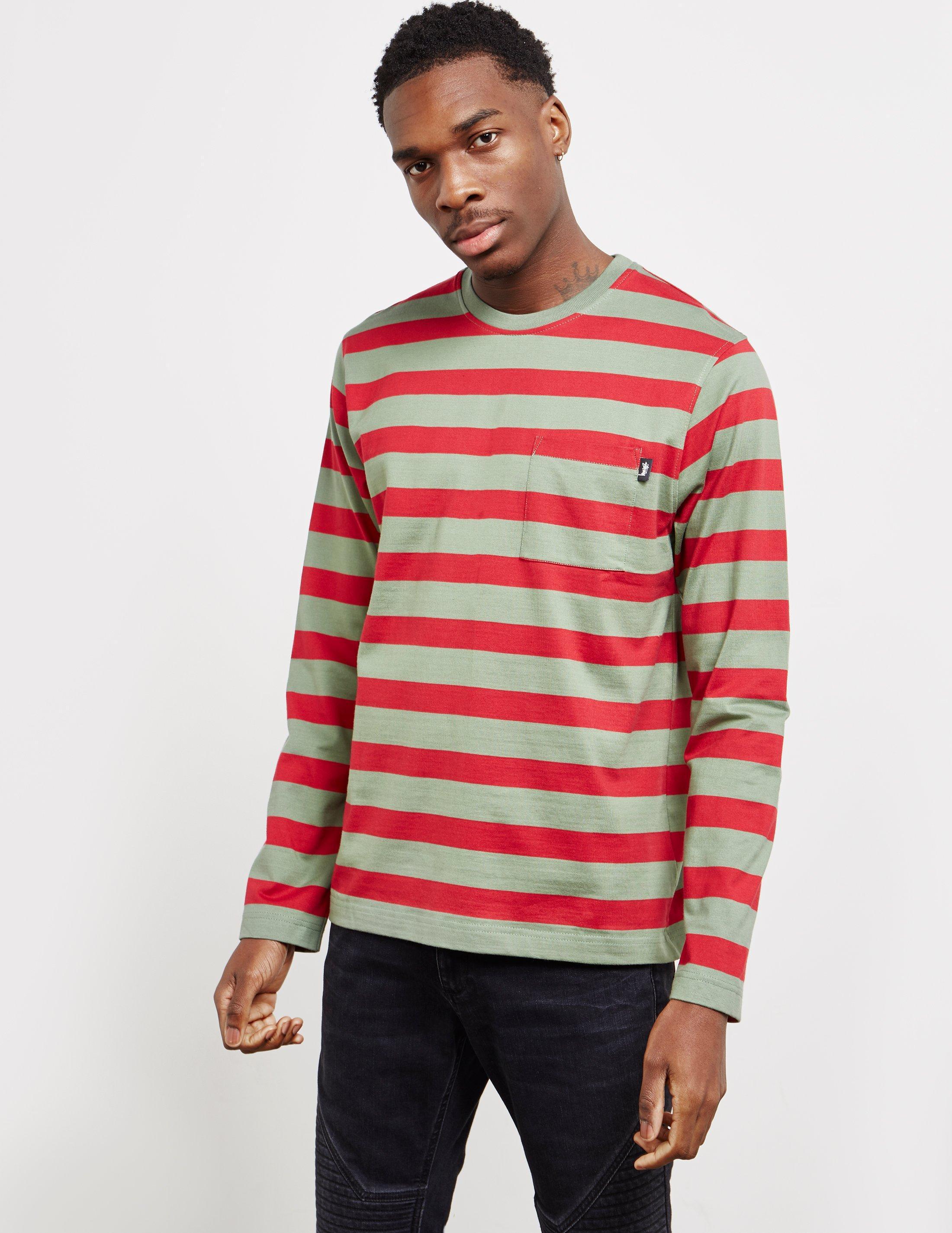 9acbace41b Stussy Mens Malcom Stripe Long Sleeve T-shirt Green in Green for Men ...