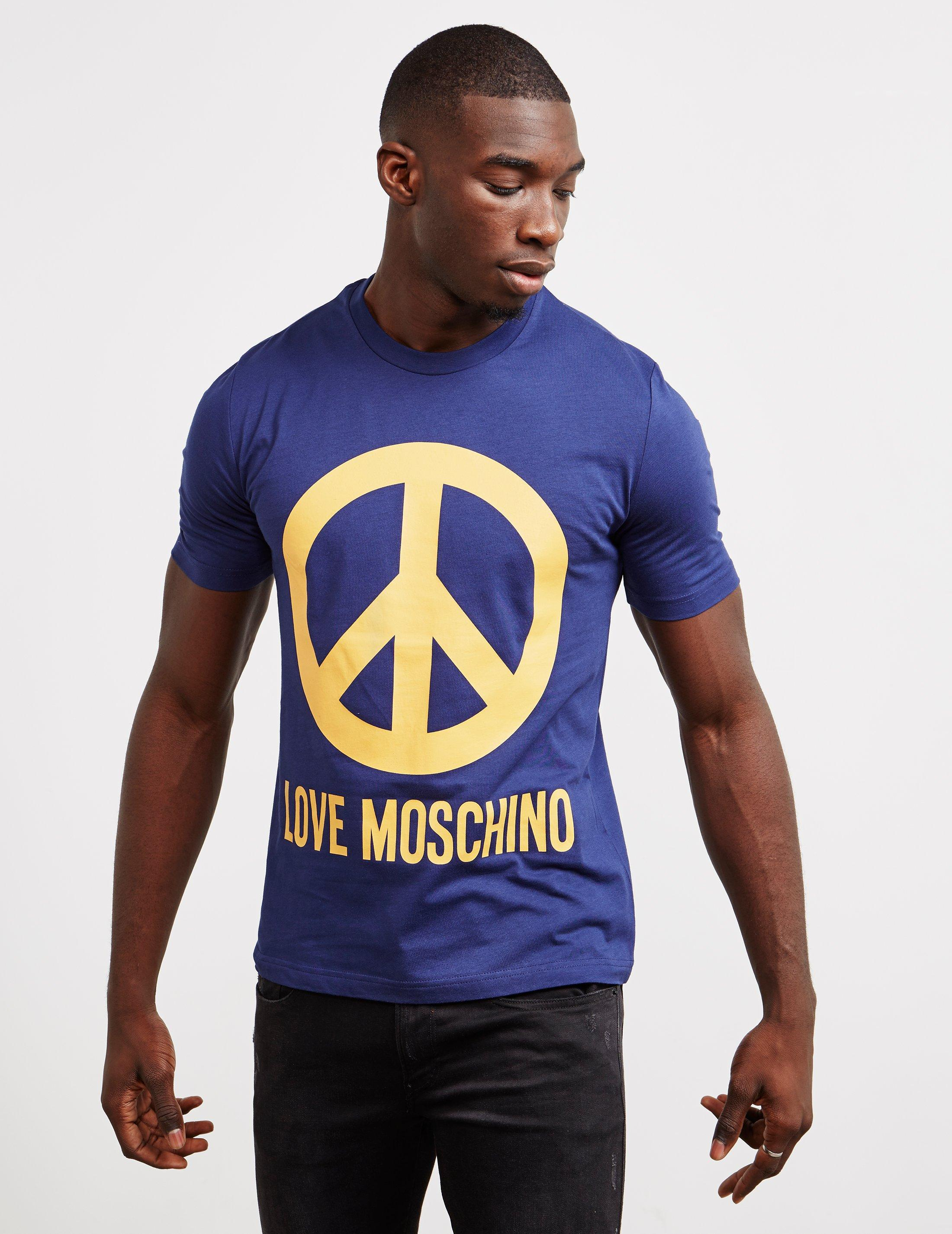 a6b0f688 Lyst - Love Moschino Mens Large Peace Short Sleeve T-shirt Navy Blue ...