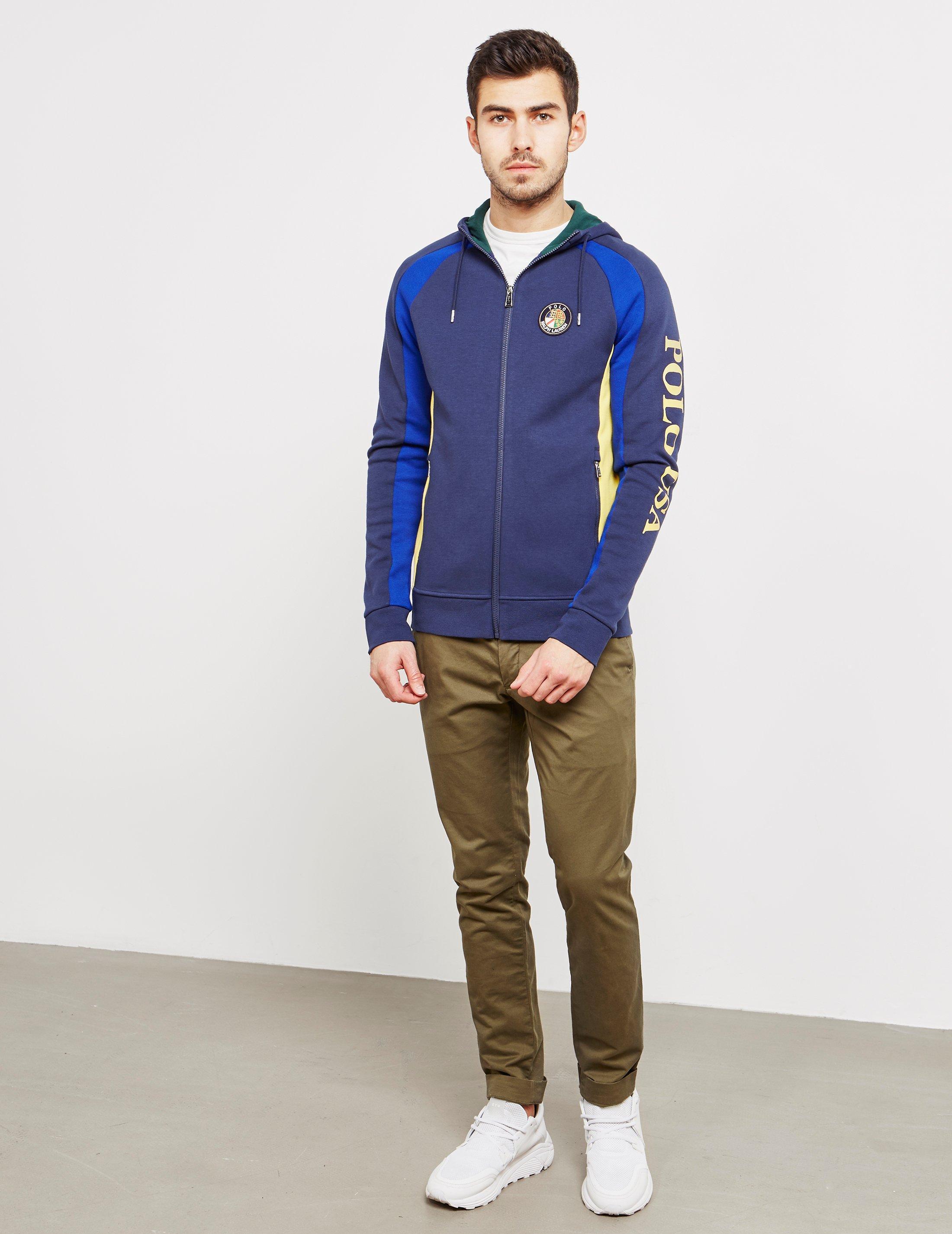 5f8ec02eb ... inexpensive lyst polo ralph lauren mens colour block full zip usa hoodie  navy blue in blue