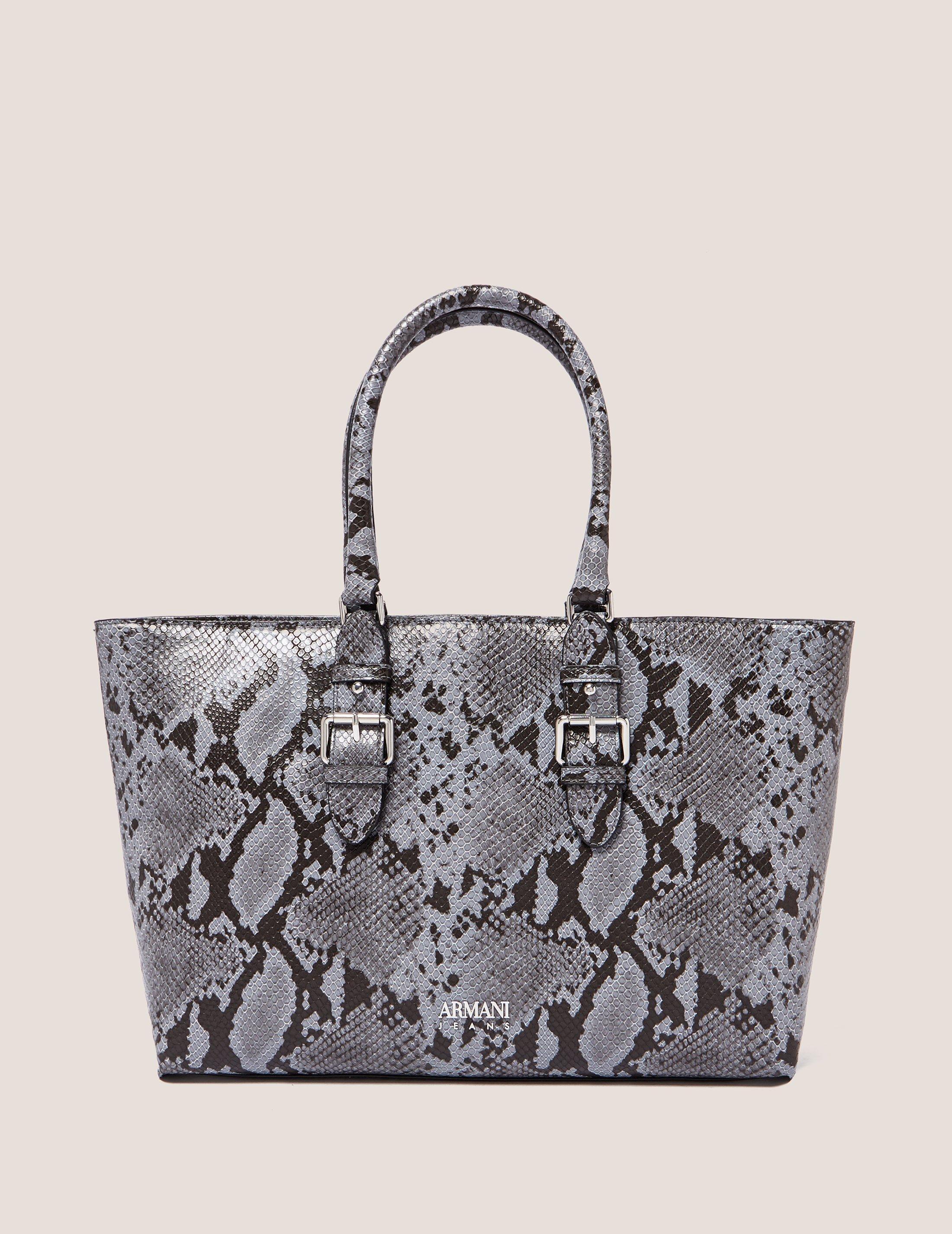 Lyst - Armani Jeans Snakeskin Shopper Bag in Gray 2700a63b4f0fa