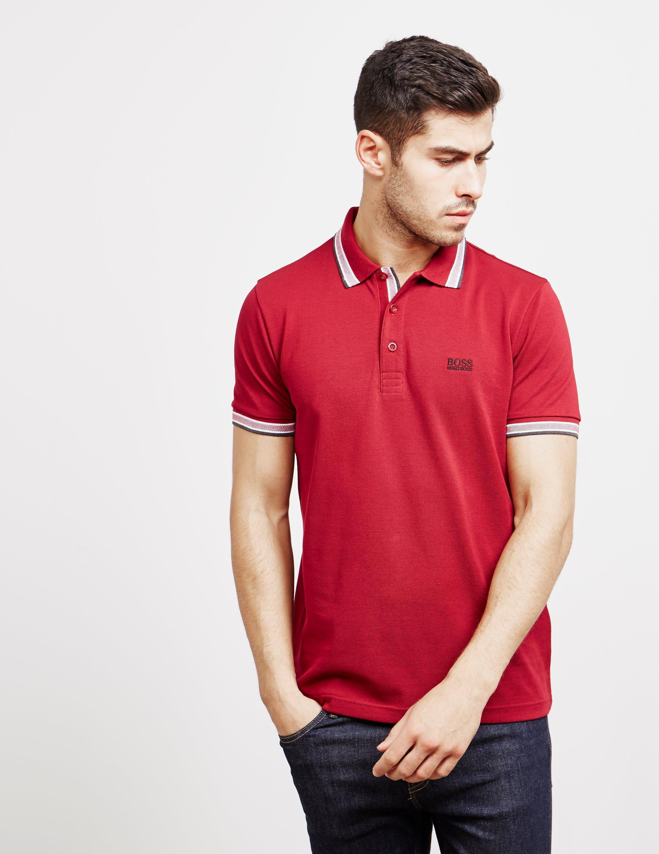 Lyst Boss Mens Tipped Paddy Short Sleeve Polo Shirt Burgundy