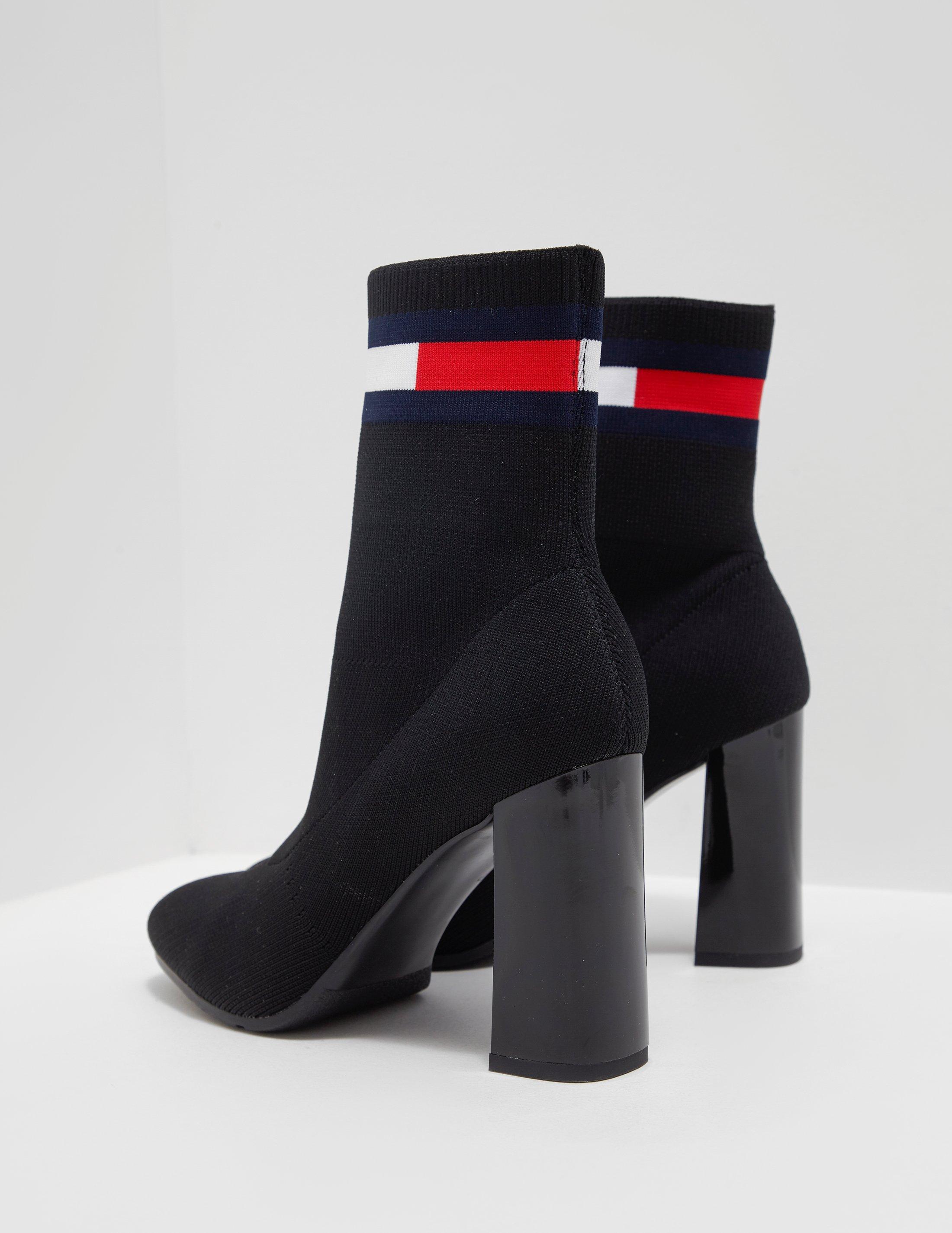 d9d029b2d Tommy Hilfiger Womens Sock Heeled Boots Black in Black - Lyst