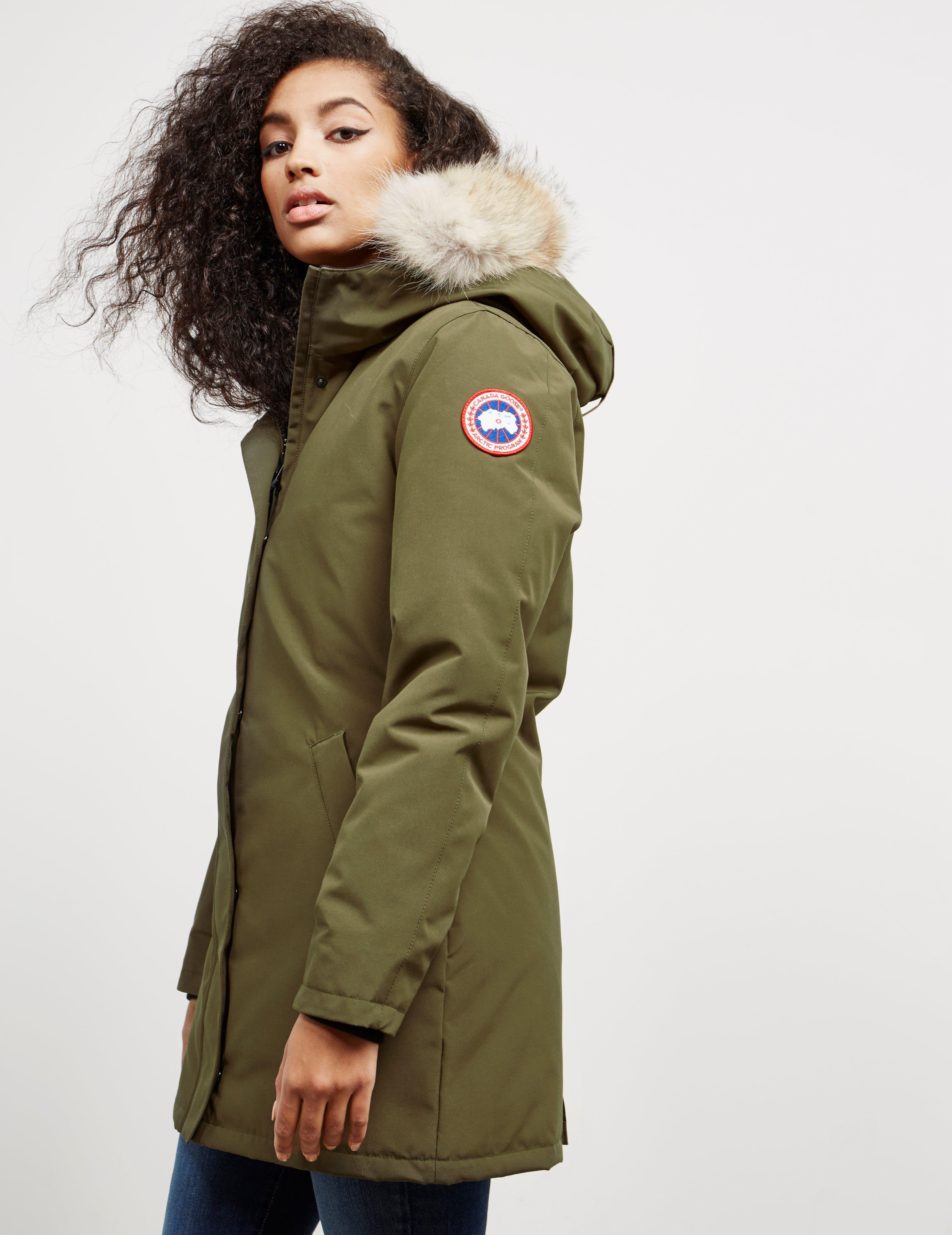 lyst canada goose womens victoria padded parka jacket green in rh lyst com