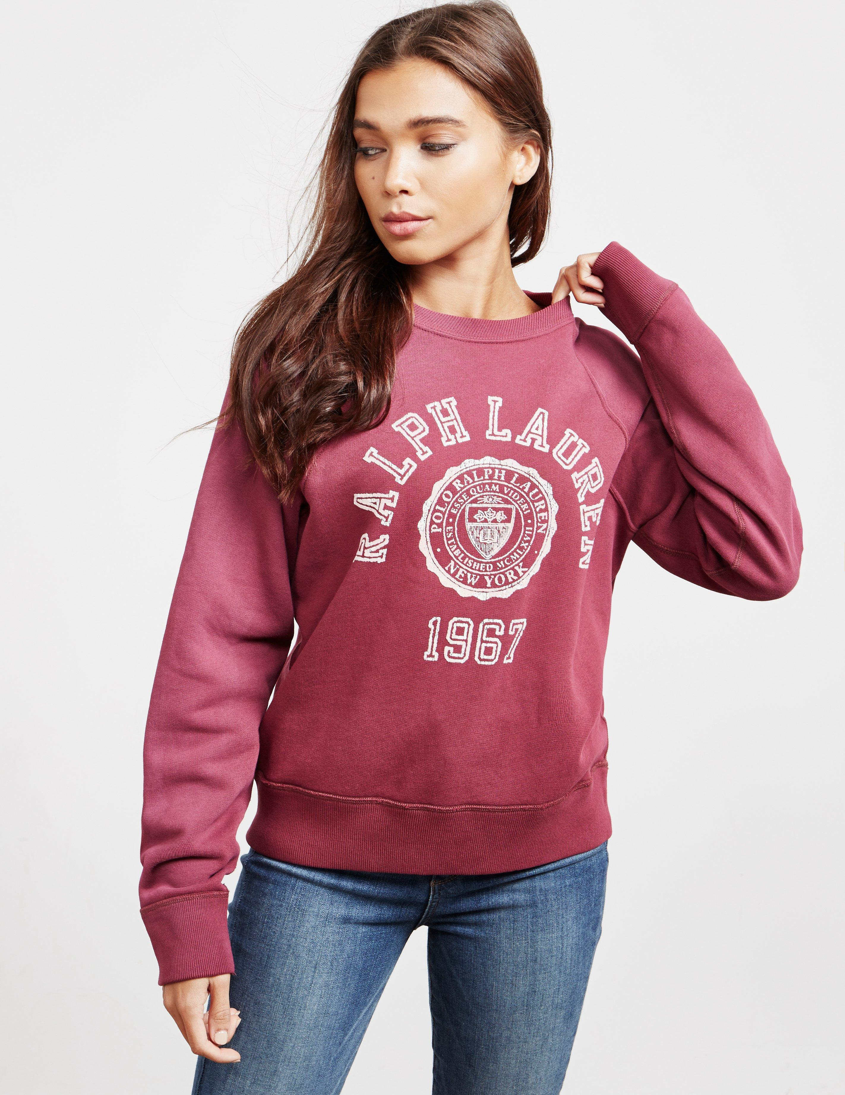 145f02f4d512 Lyst - Polo Ralph Lauren College Sweatshirt Red in Red - Save 58%