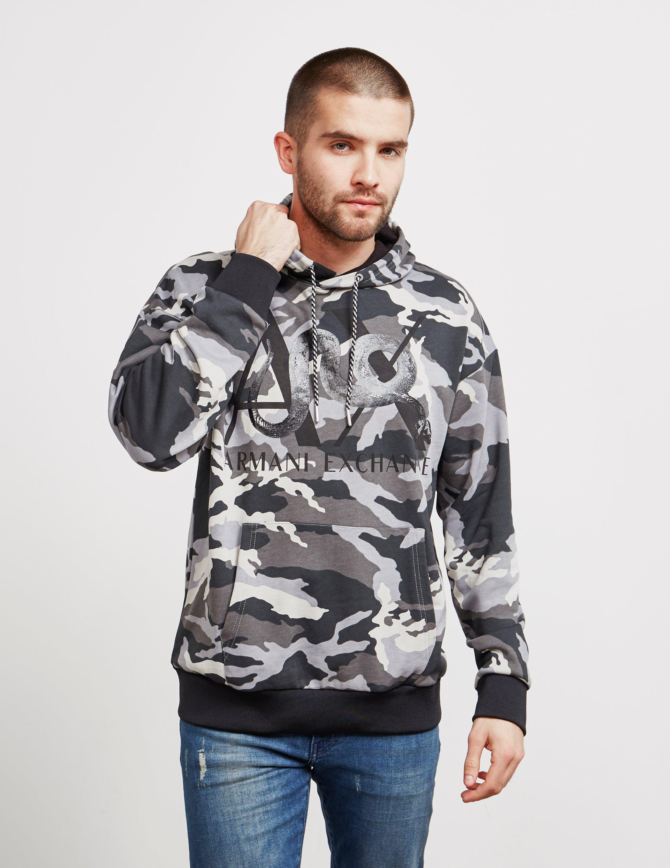 f31a87ef6d5 Lyst - Armani Exchange Mens Camouflage Overhead Hoodie Grey in Gray ...