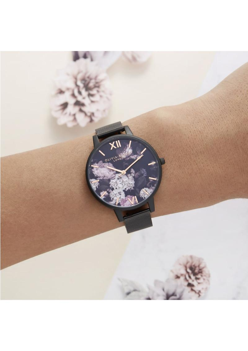 27a39fd8540 Lyst - Olivia Burton Signature Florals Mesh Watch in Black
