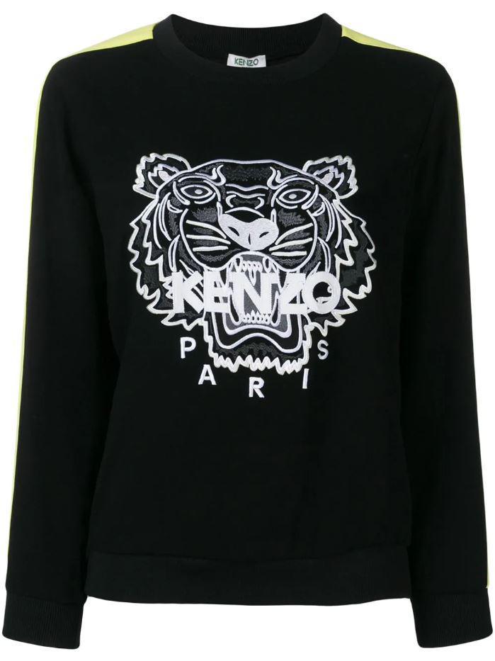 1ac91adc0 KENZO - Black Logo Embroidered Sweatshirt for Men - Lyst. View fullscreen