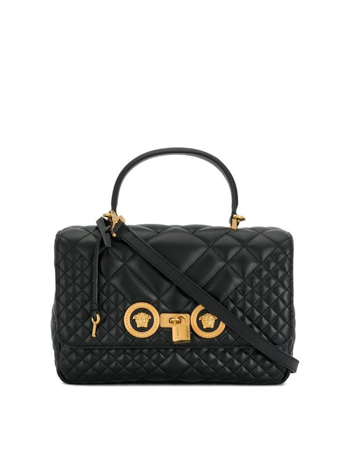 c74562254c04 Lyst - Versace Quilted Icon Dual Carry Bag in Black