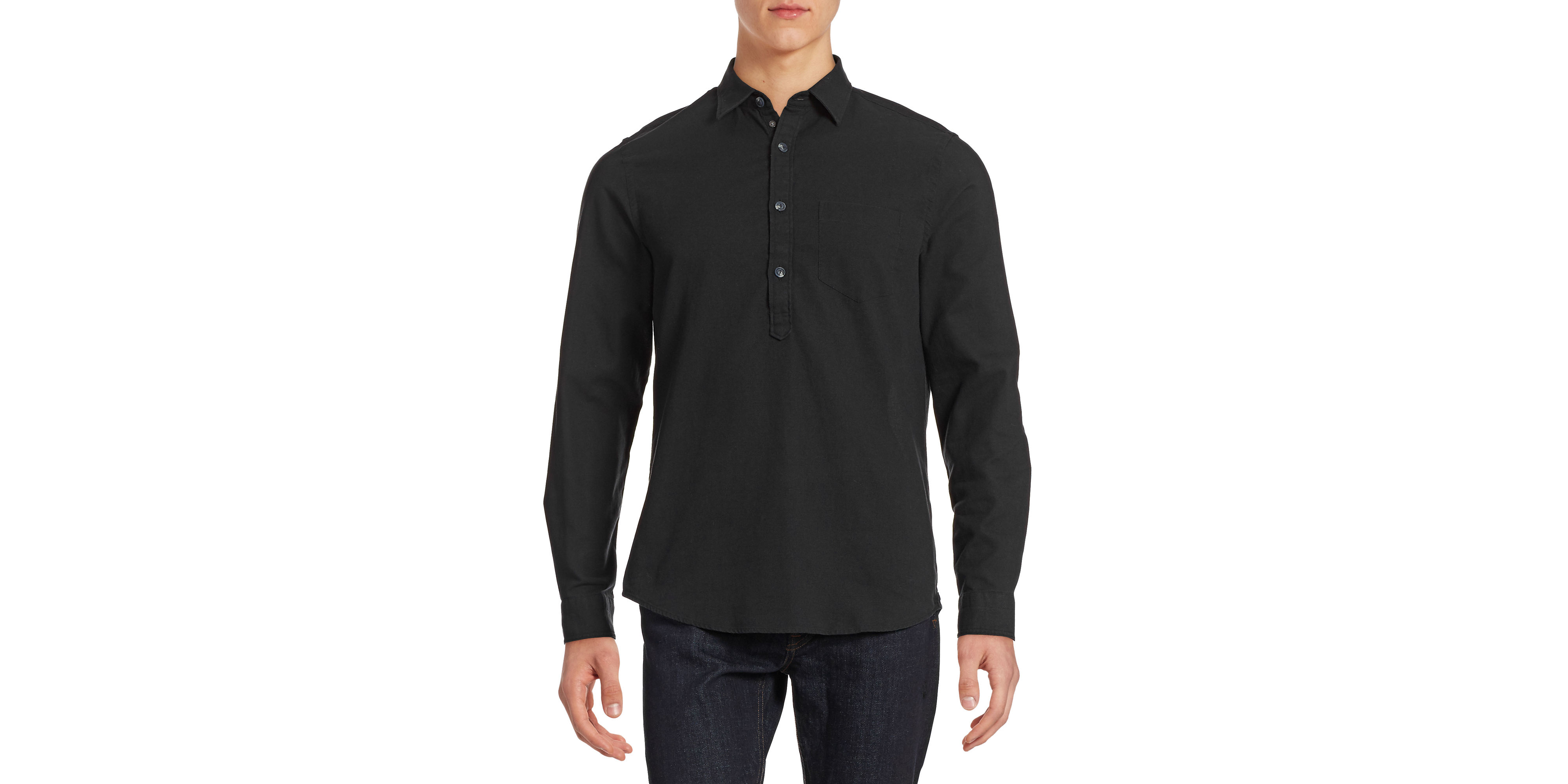 hudson north long sleeve hopsack shirt in gold for men