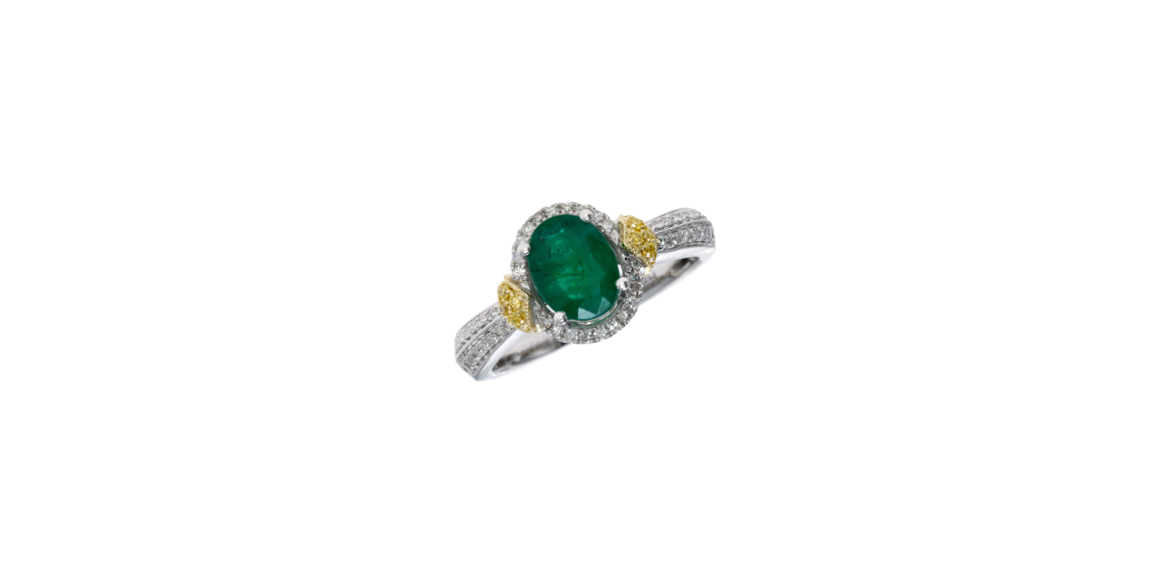 effy 14k white and yellow gold emerald ring with 0 33 tcw