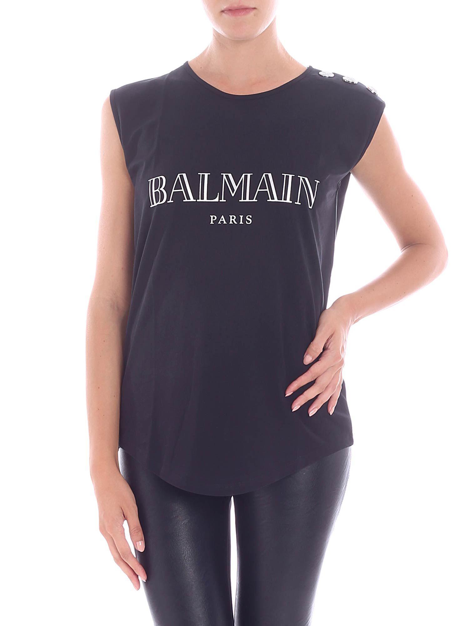 9698cf7be5dec0 Balmain - Black Top With Silver Iridescent Logo Print - Lyst. View  fullscreen