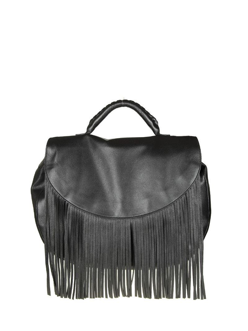 Red Valentino Black fringed leather bag 6vTLekW