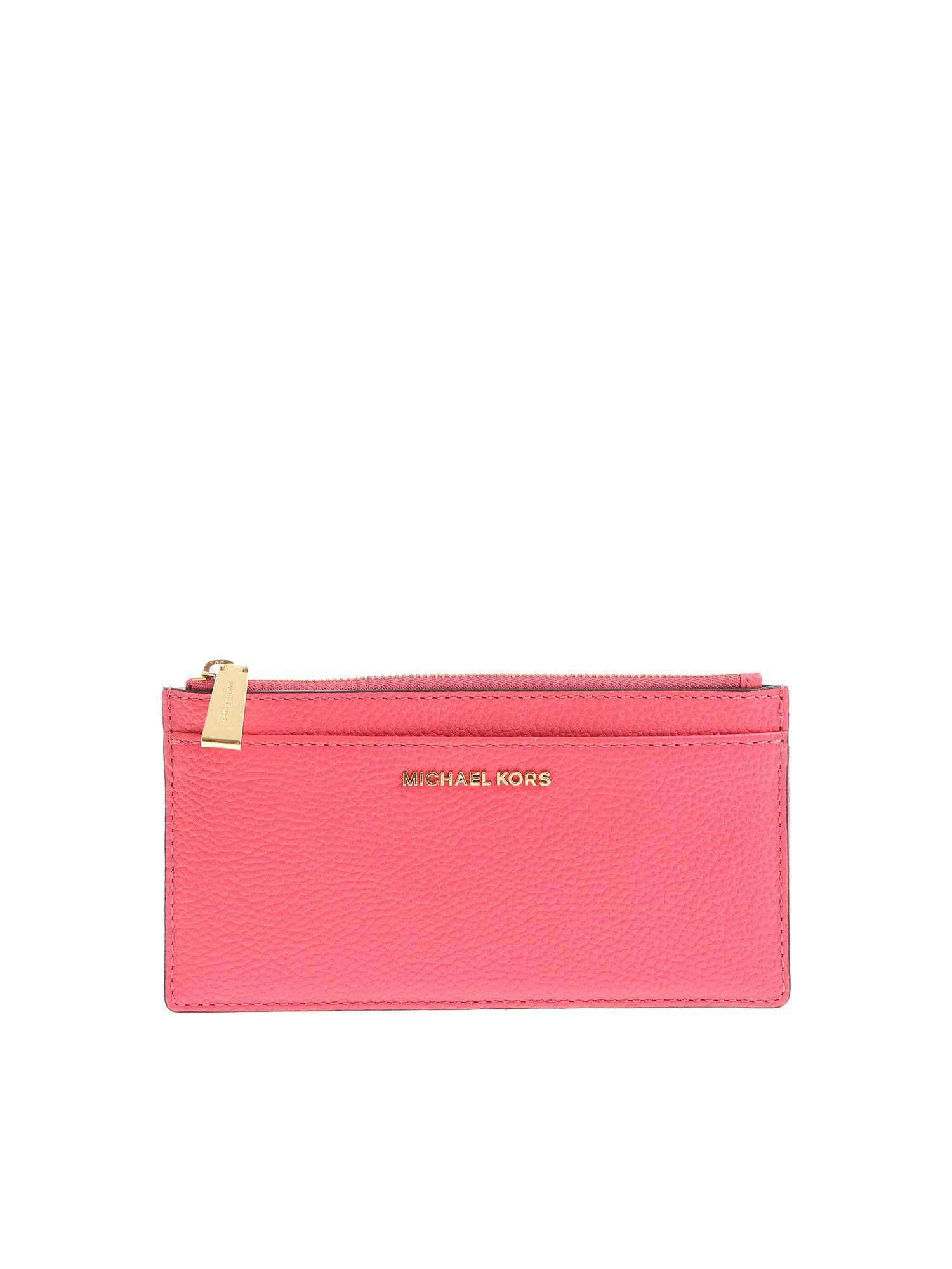 637a48787bd2 Michael Kors - Pink Fuchsia Leather Card Holder - Lyst. View fullscreen