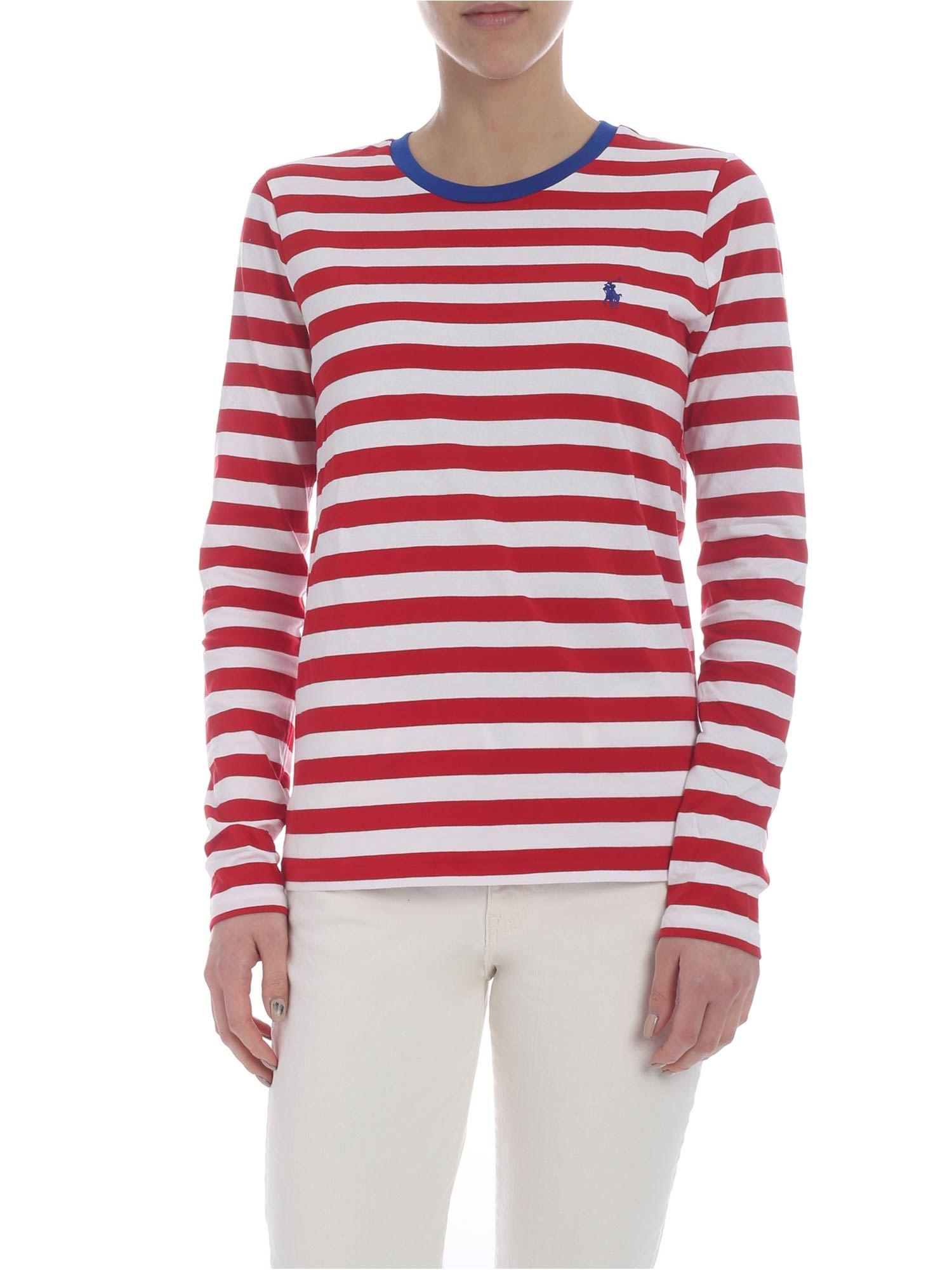 5b69f8a4fa Lyst - Polo Ralph Lauren Striped White And Red Long Sleeve T-shirt ...
