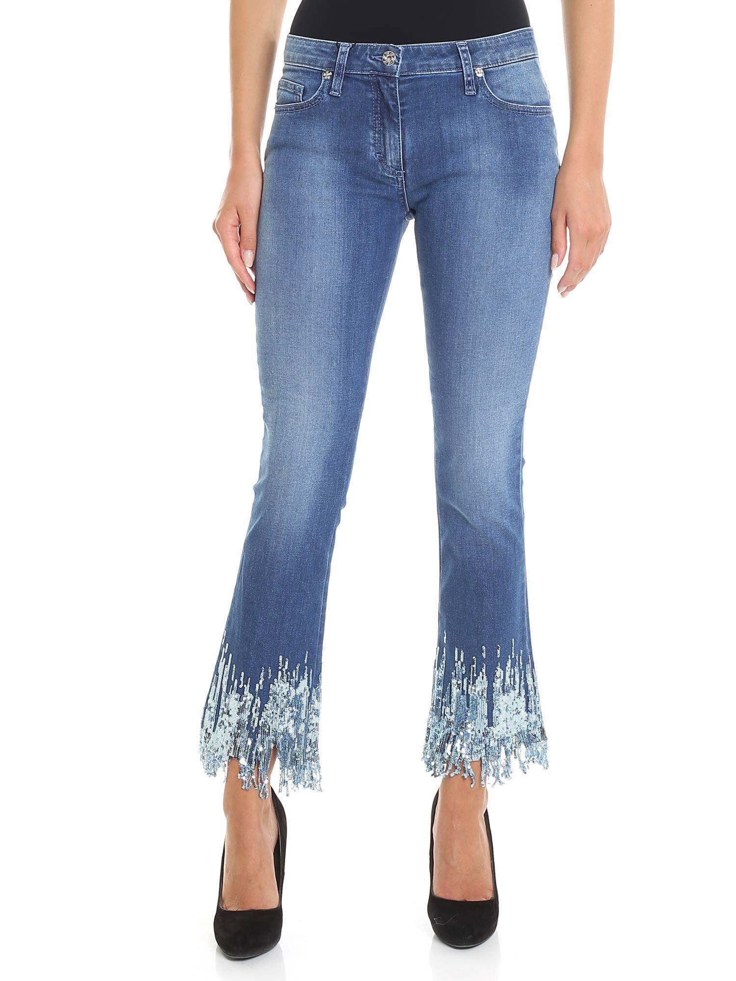 612c80c2 Blumarine - Light Blue Bootcut Jeans With Micro Sequins - Lyst. View  fullscreen