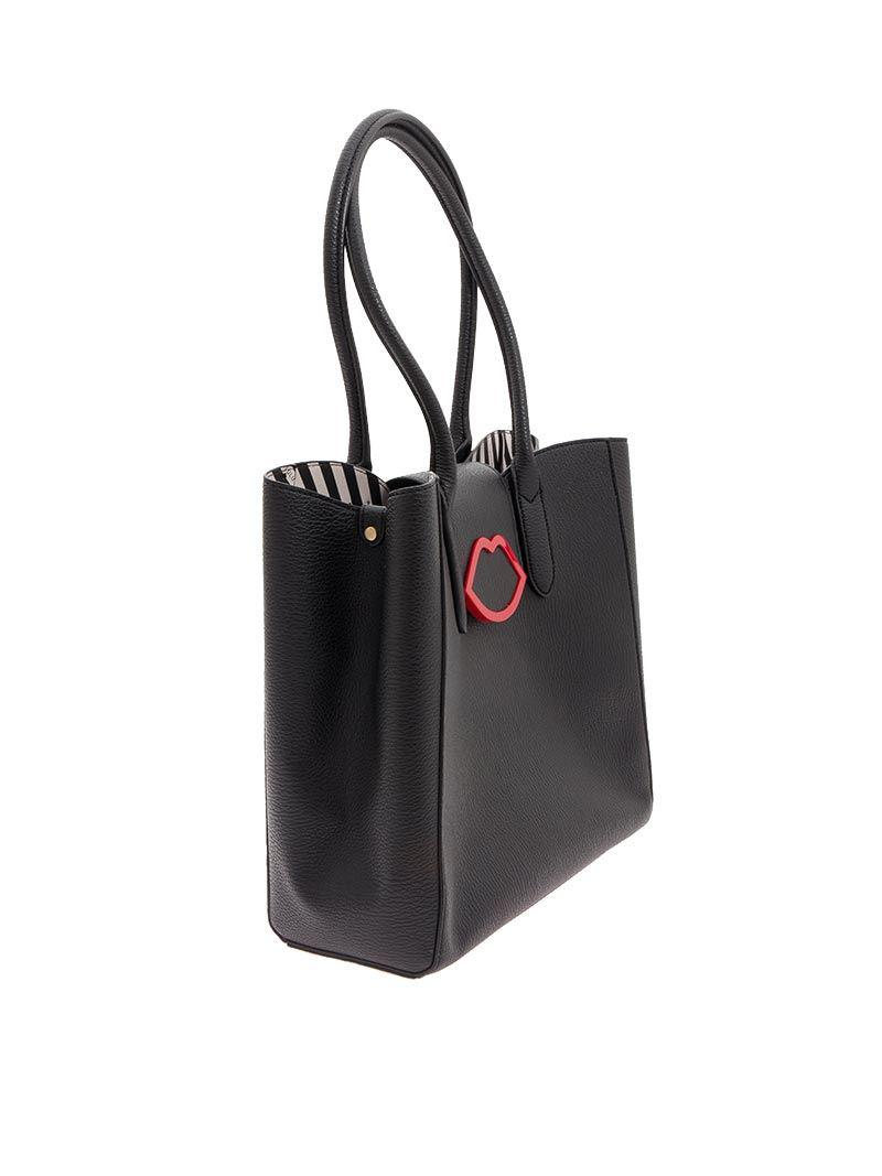 cd033979cc97bd Lulu Guinness Cupid's Bow Sofia Tote Large Bag in Black - Lyst