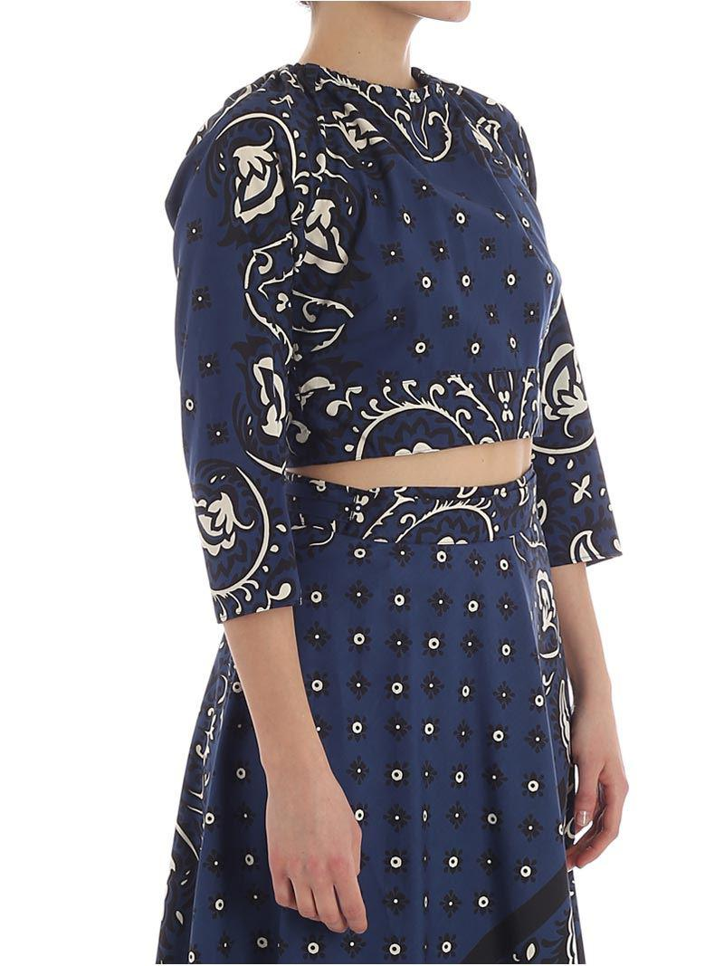 The Cheapest For Sale Dark blue printed crop top Red Valentino Limit Offer Cheap 69RQGgdm1