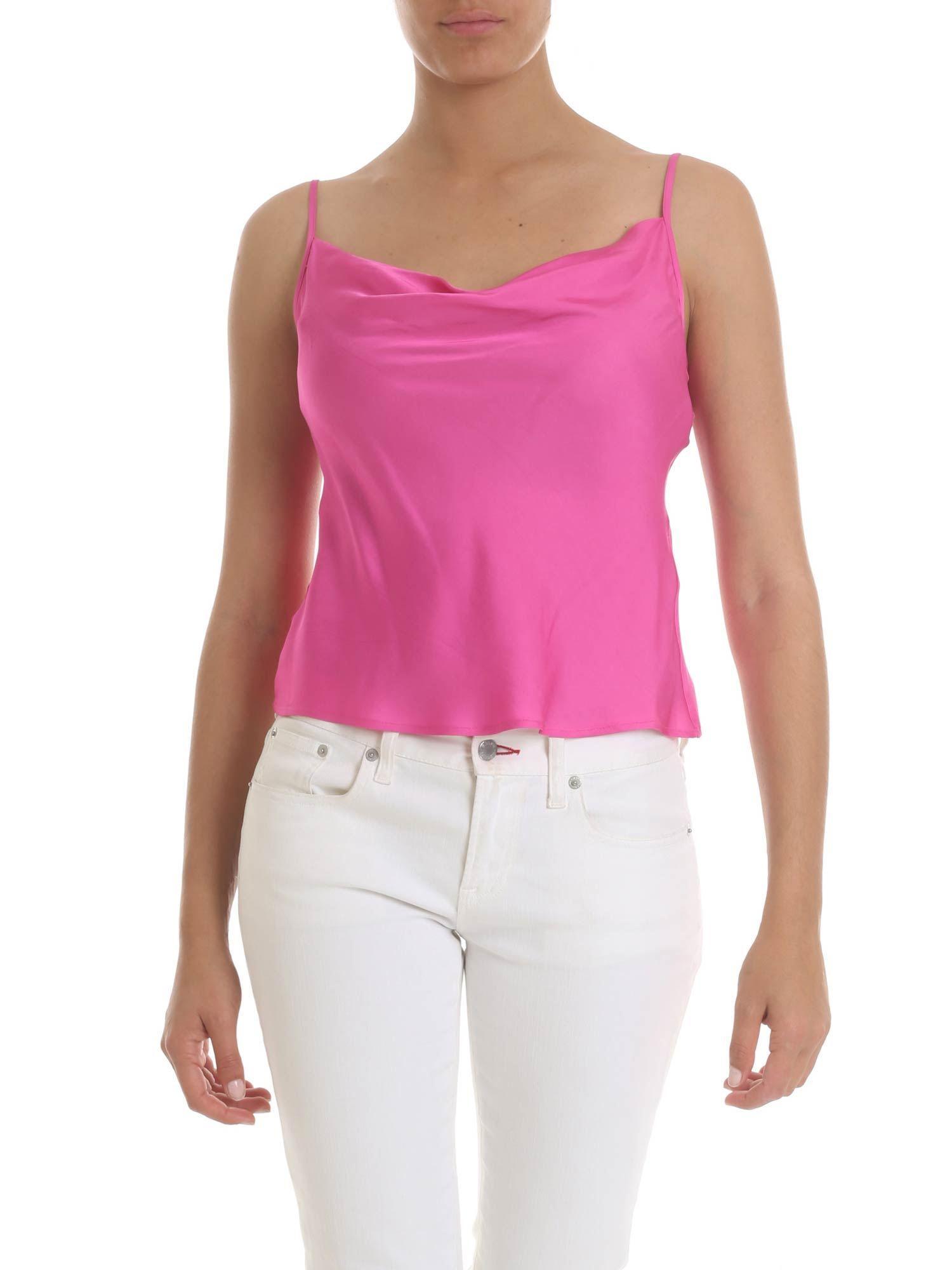 58935608307b5 Lyst - Manila Grace Fuchsia Top With Draped Neckline in Purple