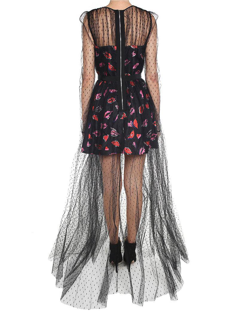 Long printed dress in plimetisse tulle Msgm Sast Many Kinds Of For Sale New Cheap Price Buy Cheap Release Dates iLv9uH5