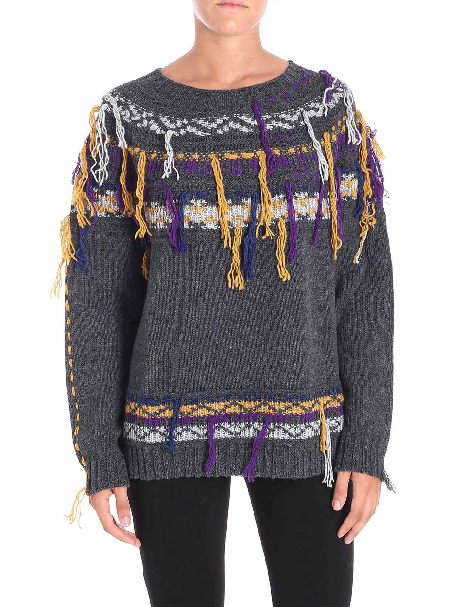 cf26063190 Pinko. Women's Gray Grey Acalypha Pullover With Multicolour Embroidery