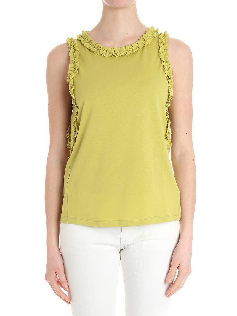 Professional Discount Finishline Green blouse with ruffles Caractere Buy Cheap Exclusive c2fz66Aio